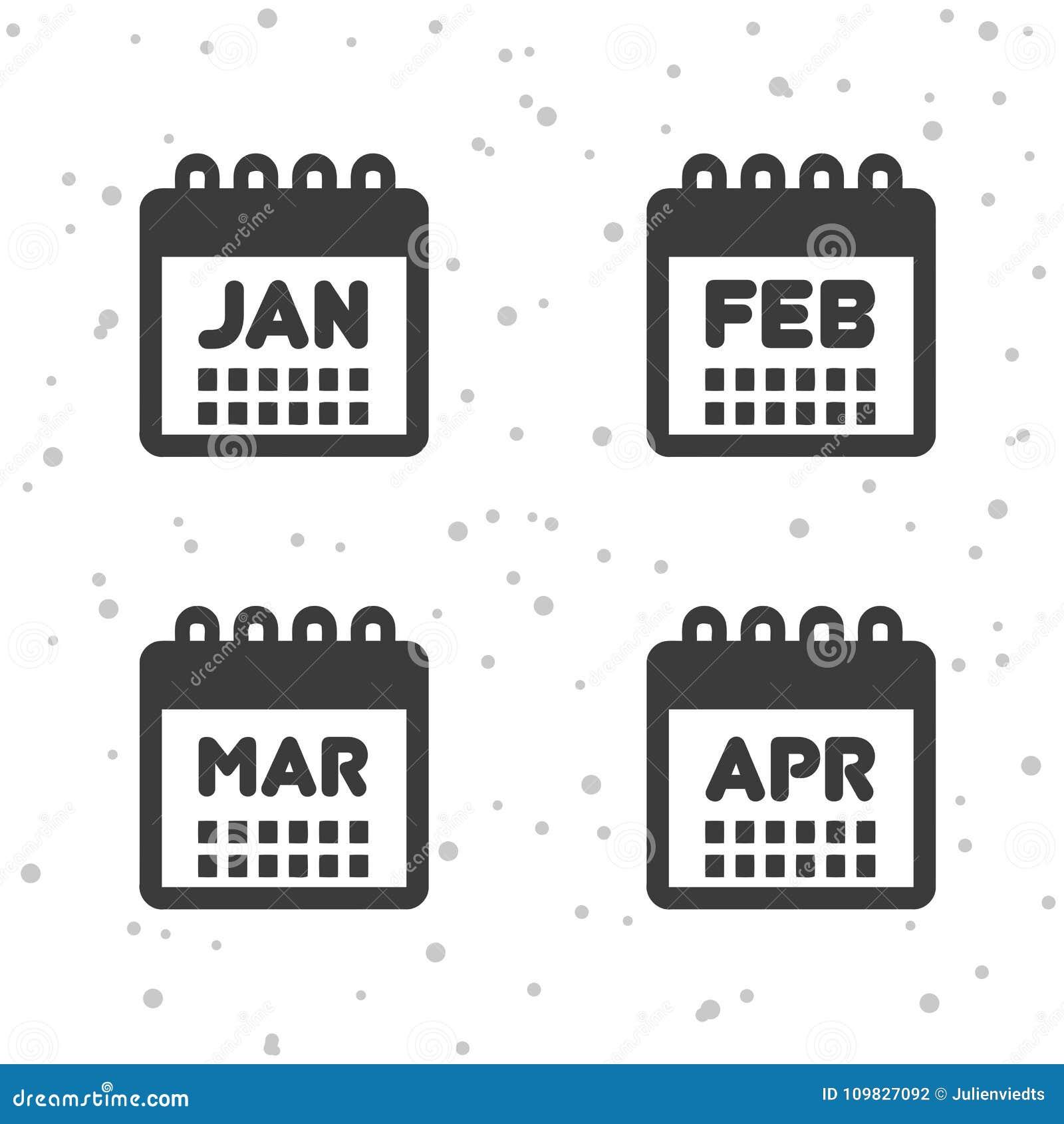 Enero Febrero Iconos Marzo Y Abril Símbolos Del Calendario