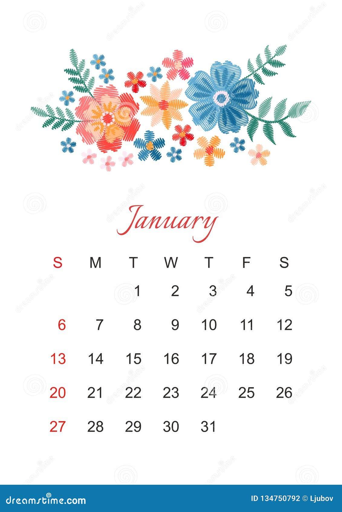 Enero Plantilla del calendario del vector por 2019 años con la composición hermosa de las flores del bordado