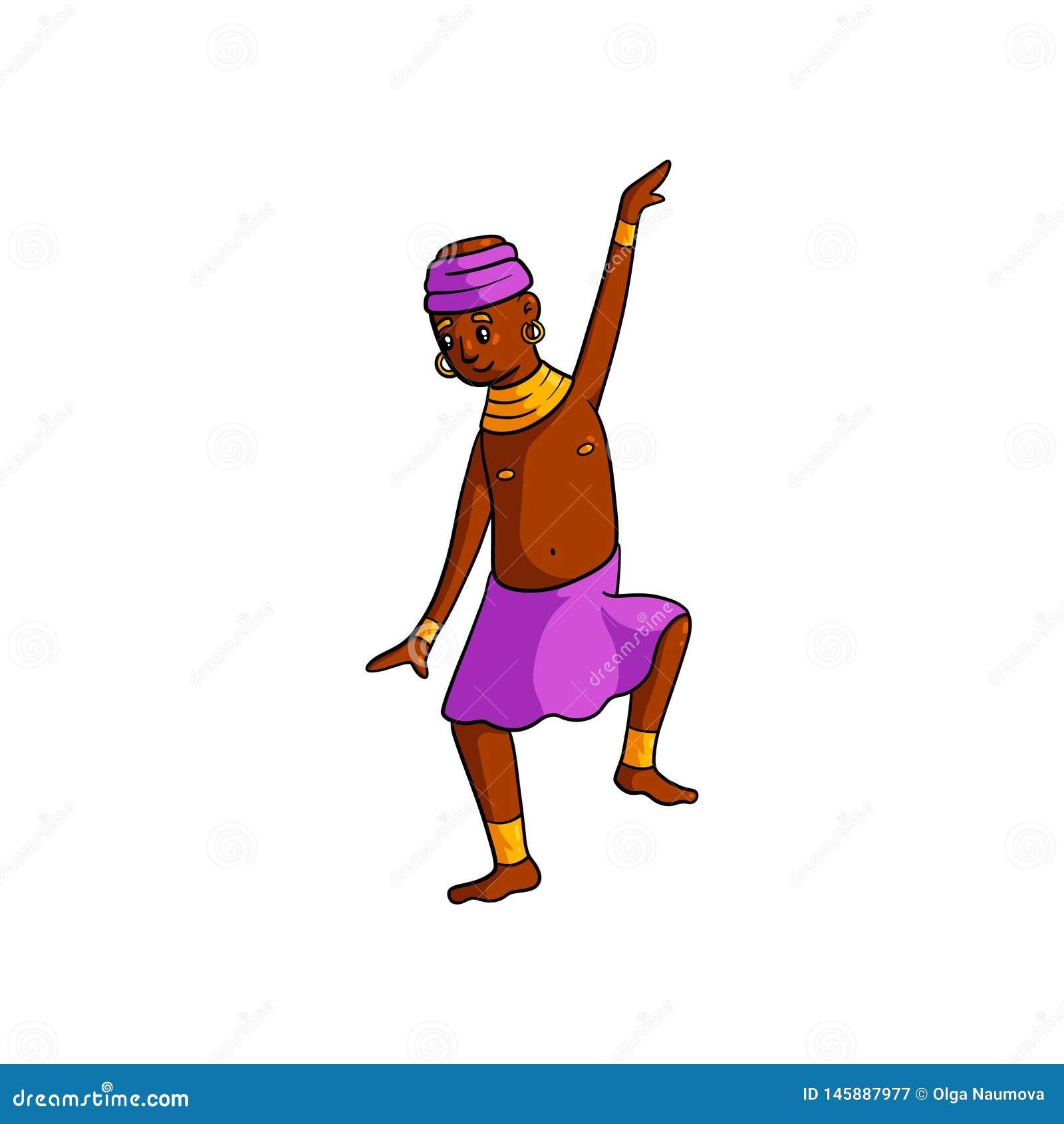 Enfant africain de danse de tribu mignonne avec la jupe rose