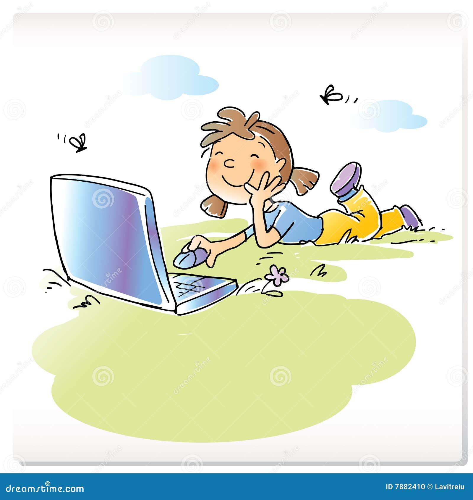 enfant avec l 39 ordinateur portable illustration de vecteur image 7882410. Black Bedroom Furniture Sets. Home Design Ideas