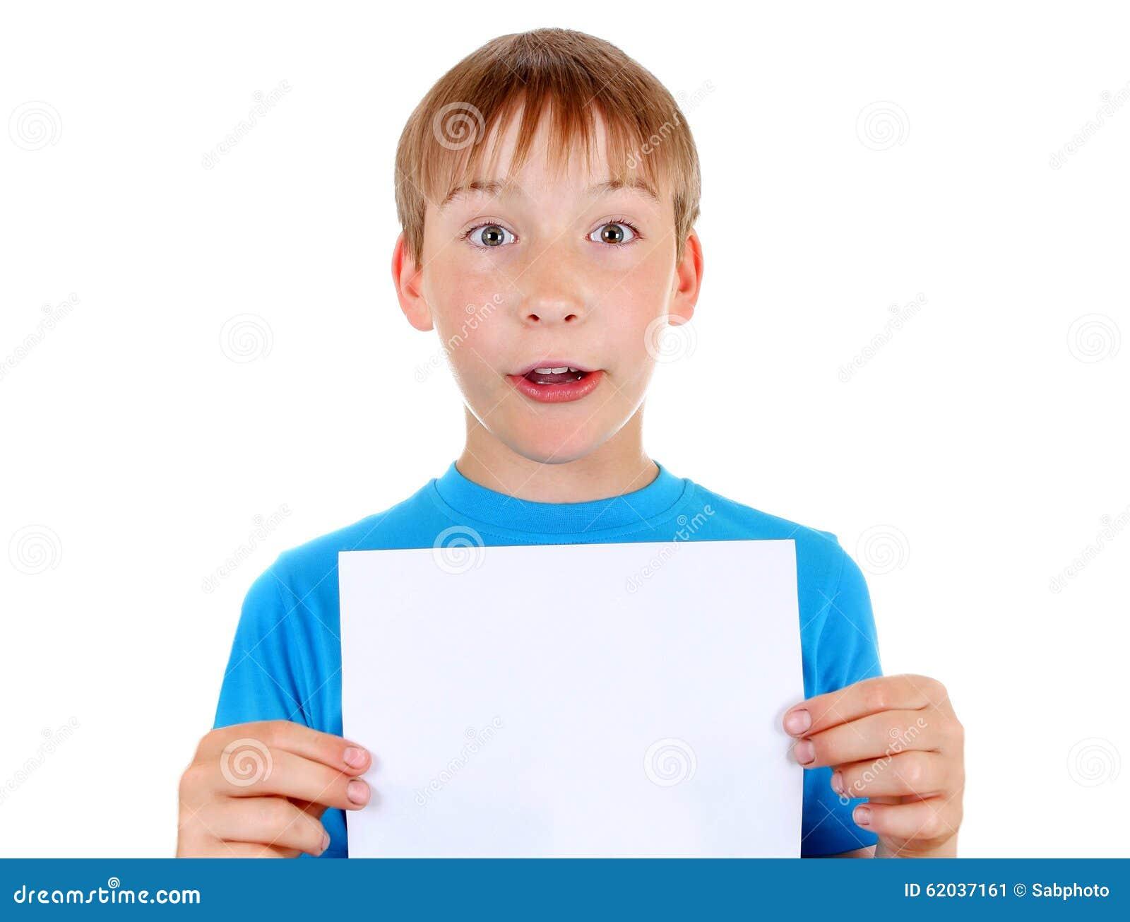 enfant avec le papier blanc photo stock image 62037161. Black Bedroom Furniture Sets. Home Design Ideas
