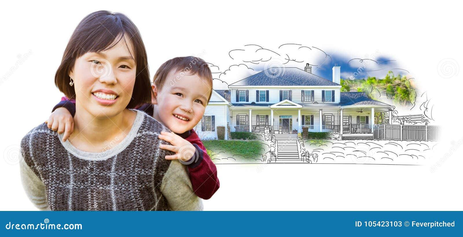 Enfant Chinois De Mère Et De Métis Devant Le Dessin De