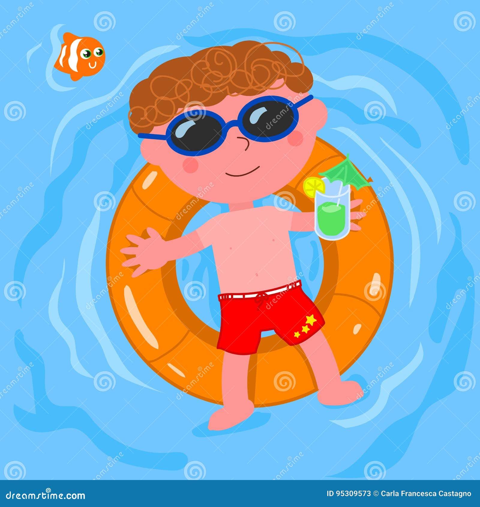 Enfant décontracté dans le vecteur de l eau