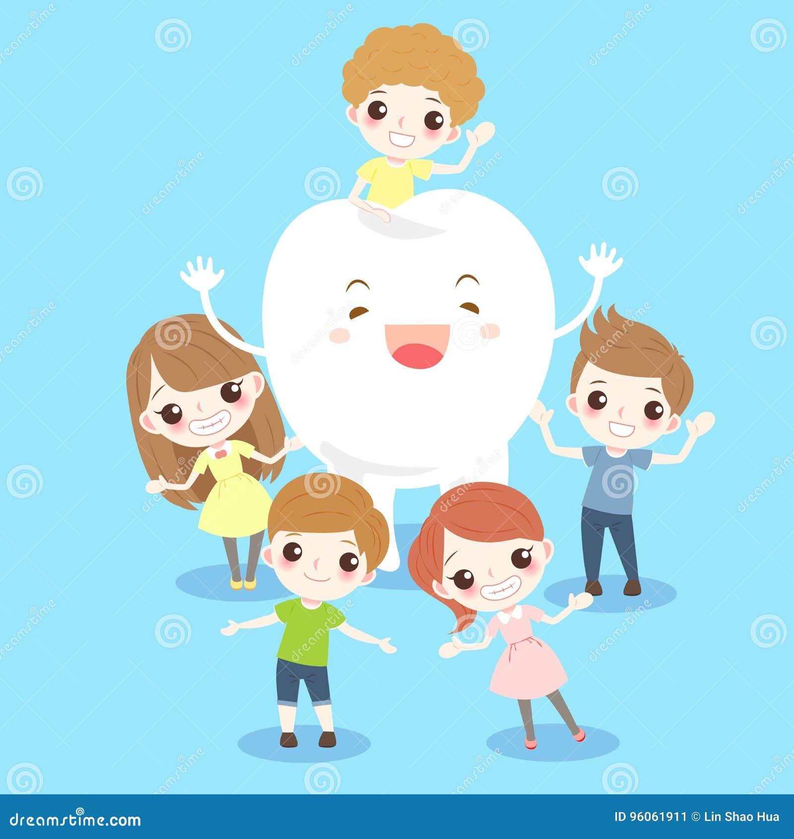 Enfant de bande dessinée avec la dent