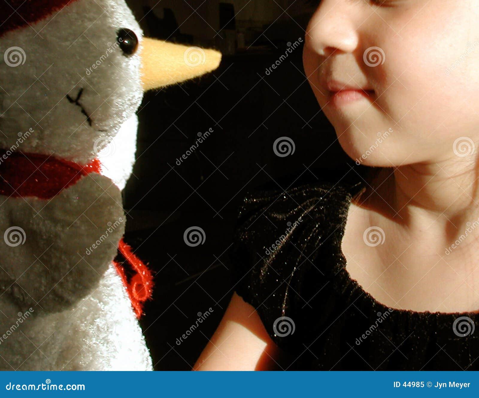 Enfant et bonhomme de neige