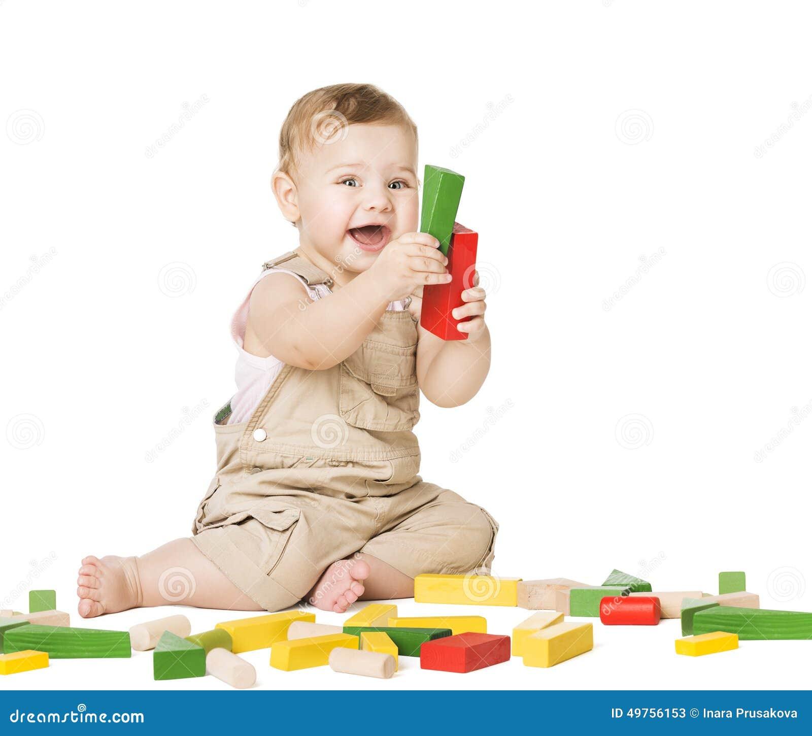 Enfant jouant des blocs de jouets Concept de développement d enfants Enfant de bébé