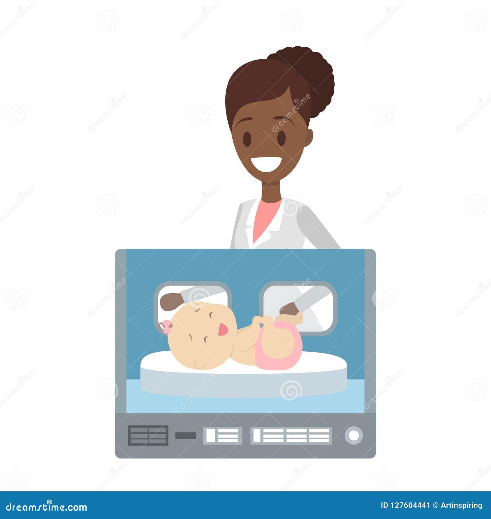 Enfant nouveau-né dans la boîte d incubateur d hôpital