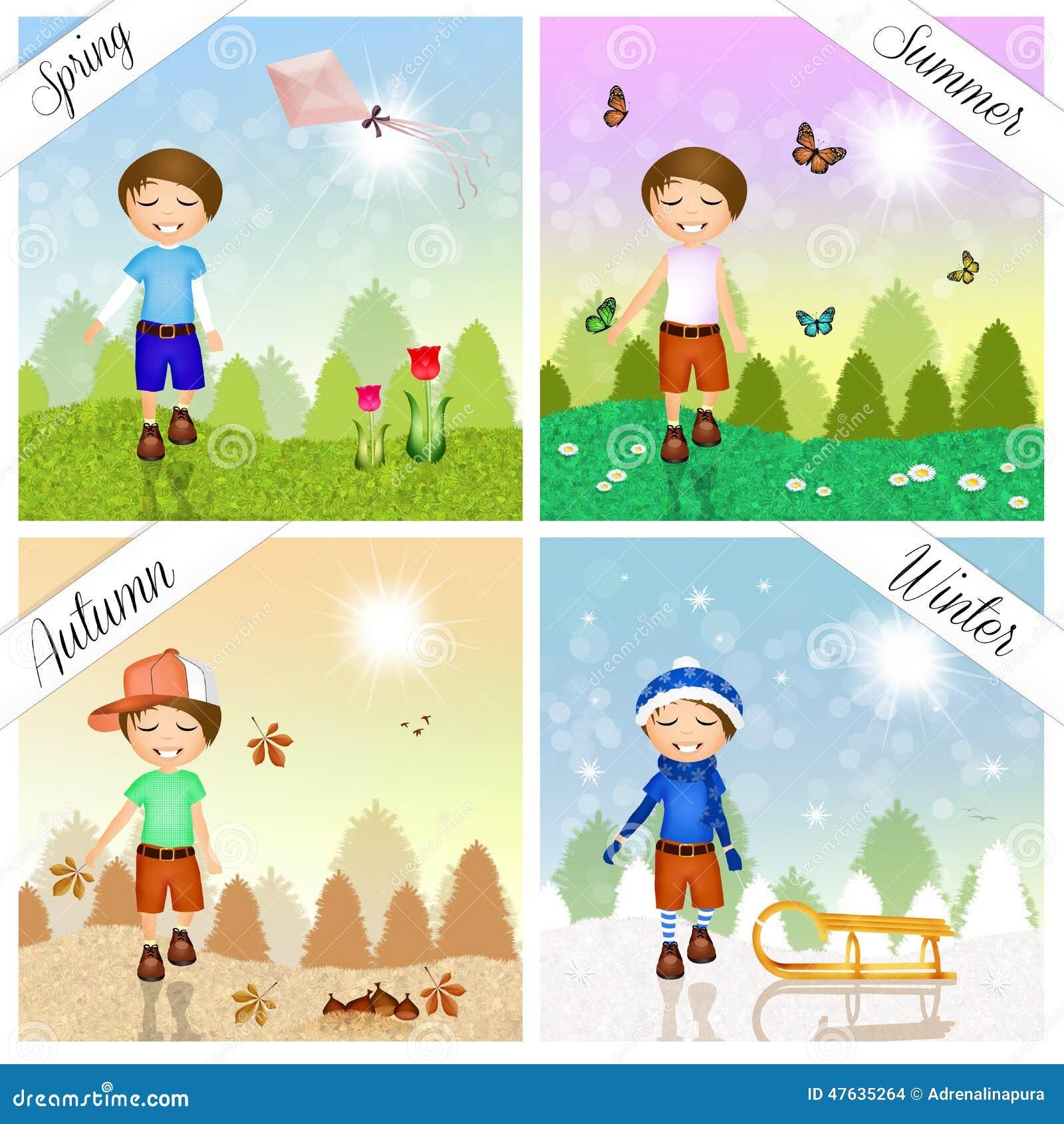 Enfant Pendant Les Quatre Saisons Illustration Stock - Image: 47635264