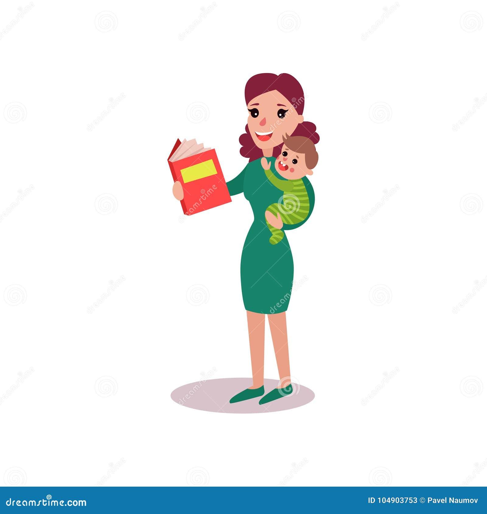 Enfantez Lire Un Livre Avec Le Bebe Dans Des Ses Bras