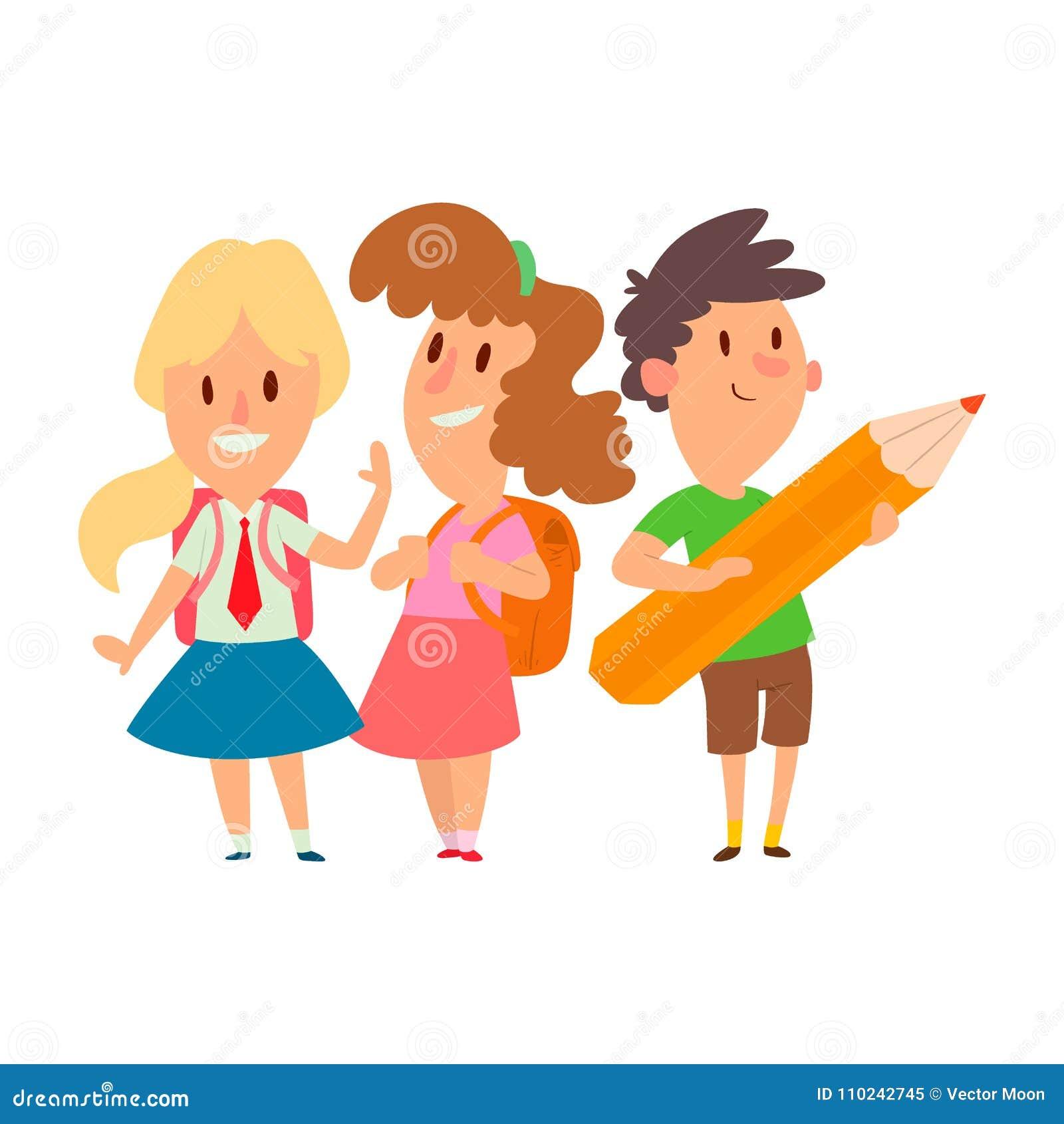 Enfants étudiant le vecteur heureux allant de caractère d enseignement primaire d enfance d étude d enfants d école ensemble