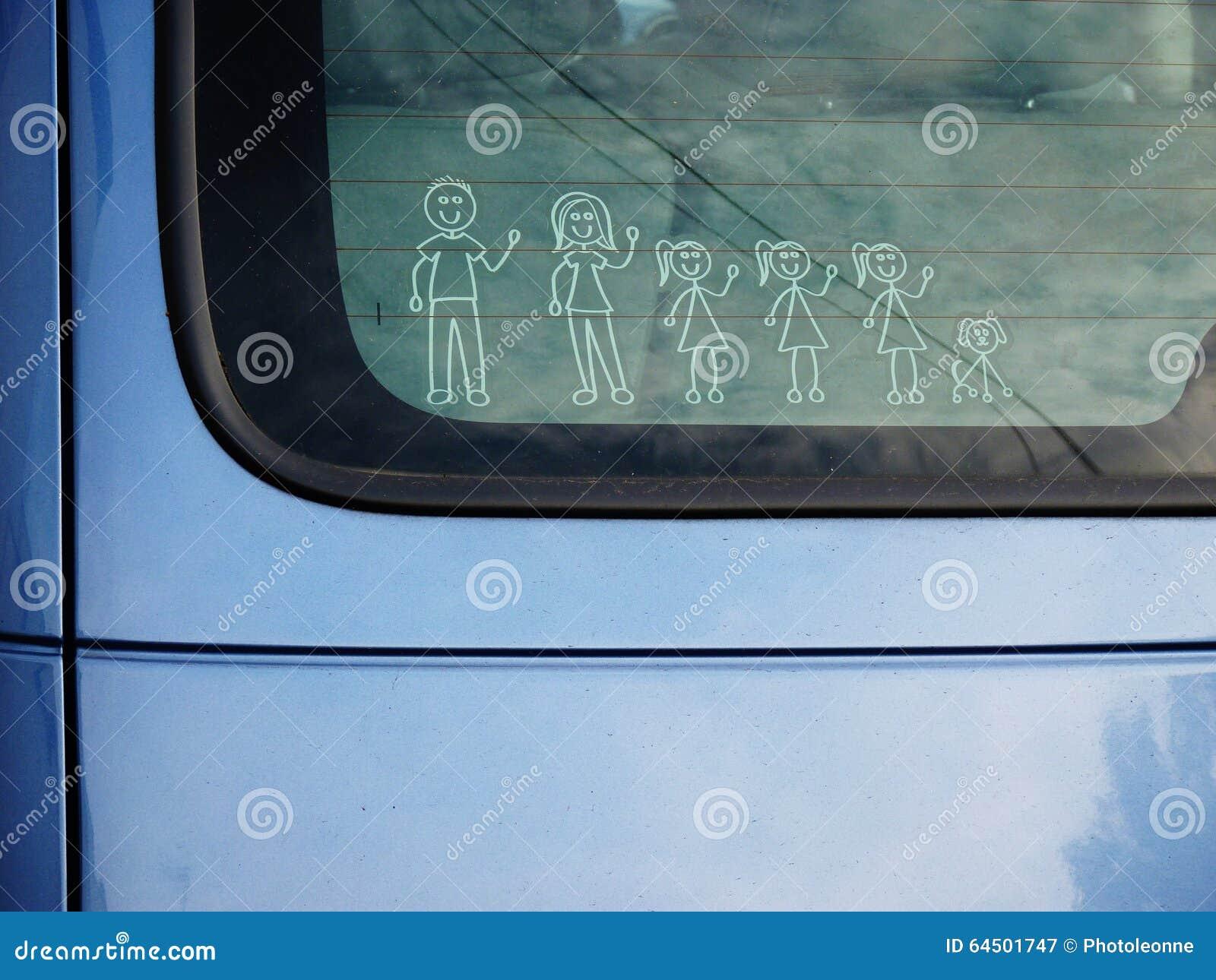 Enfants affectueux du chien trois d inverse d autocollant de voiture familiale