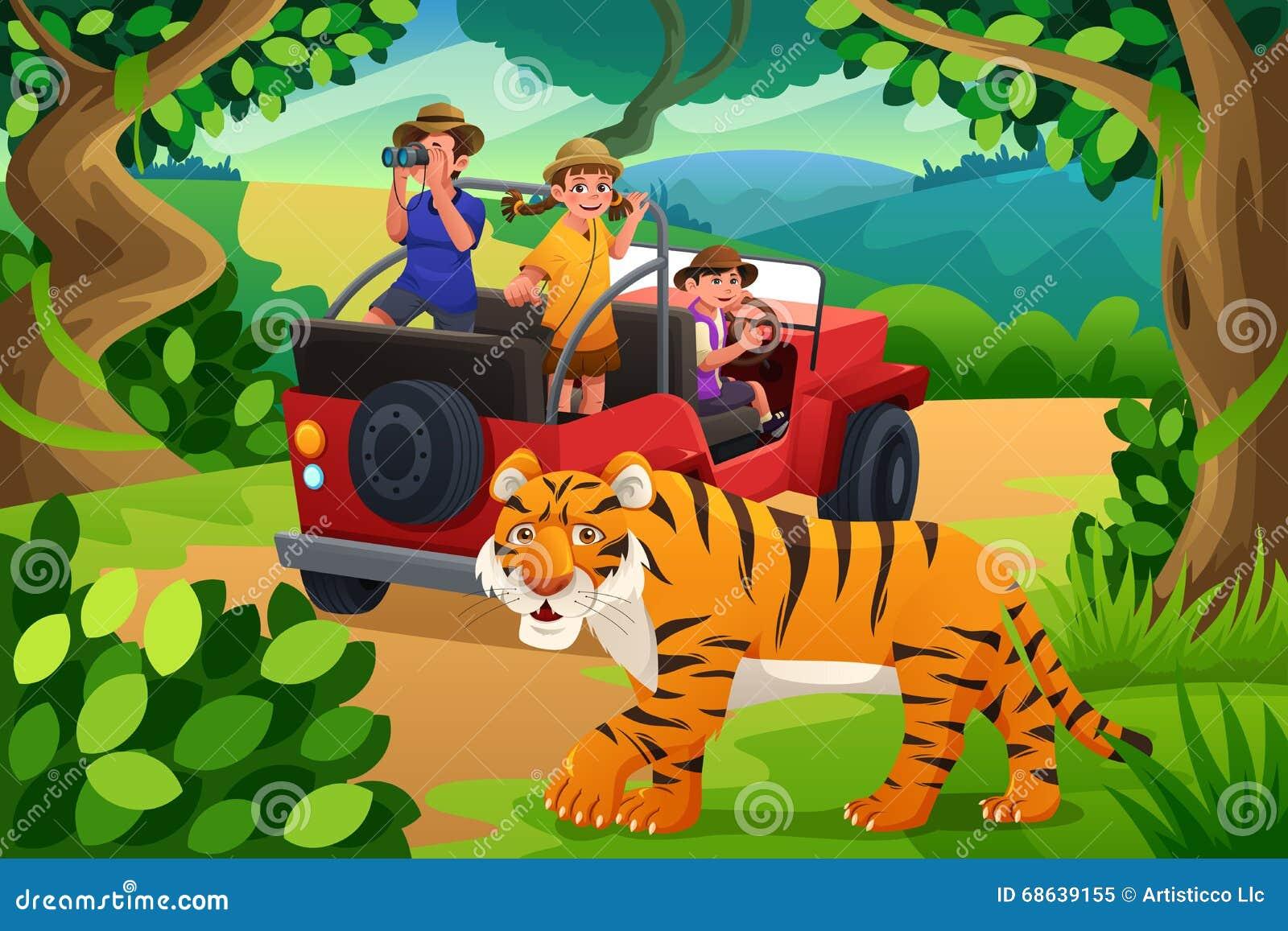 Jungle Wall Mural Enfants Allant Au Safari De Jungle Illustration De Vecteur