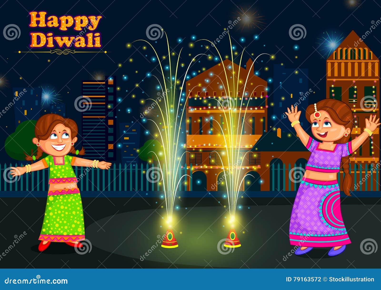 Enfants appréciant le pétard célébrant le festival de Diwali de l Inde