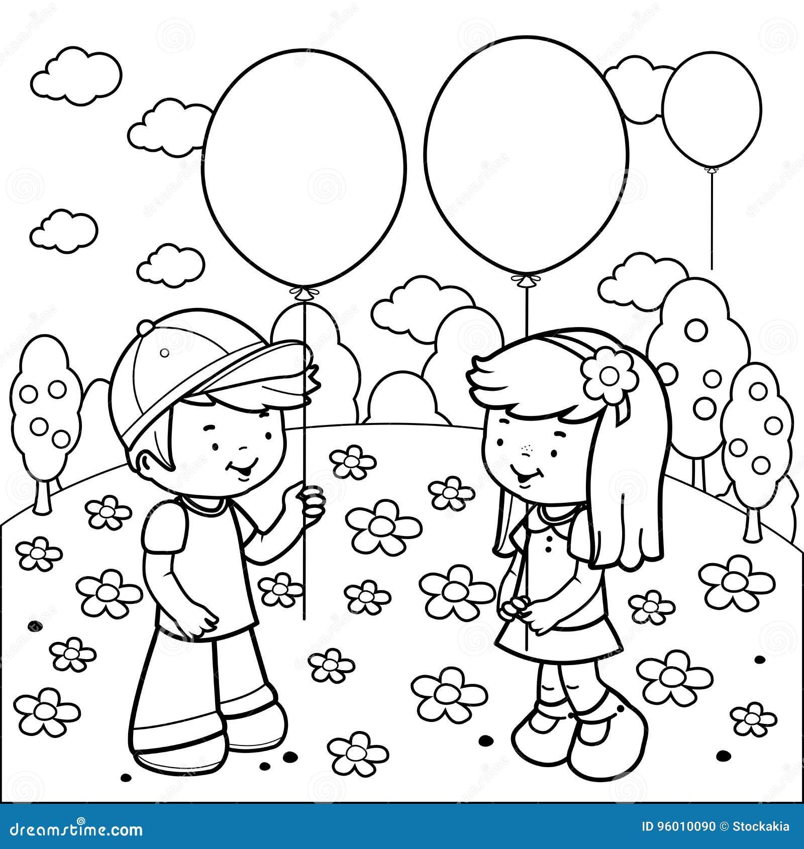 Enfants Au Parc Jouant Avec Des Ballons Page De Livre De Coloriage Illustration de Vecteur