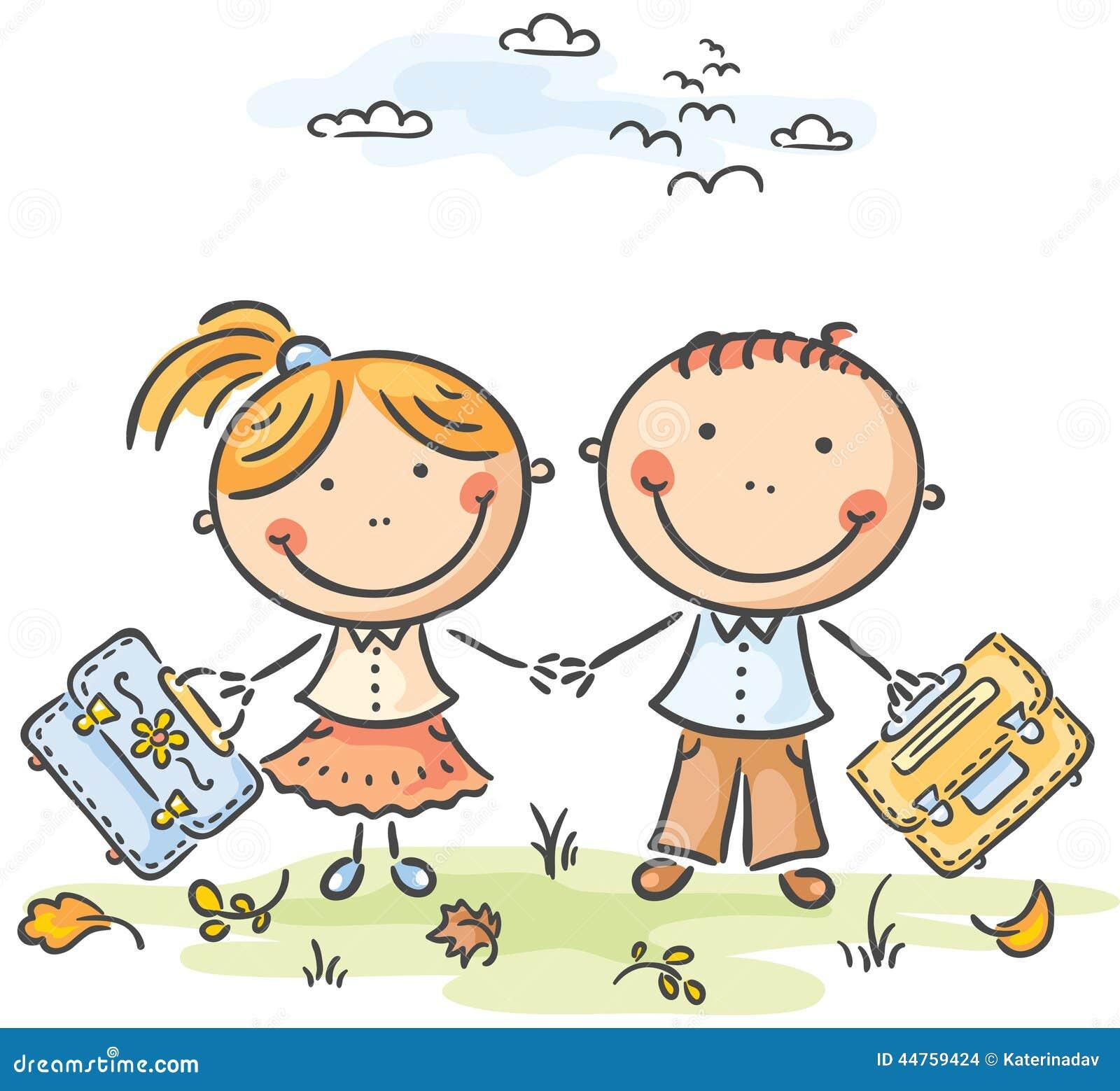Enfants avec des cartables illustration de vecteur - Clipart cartable ...