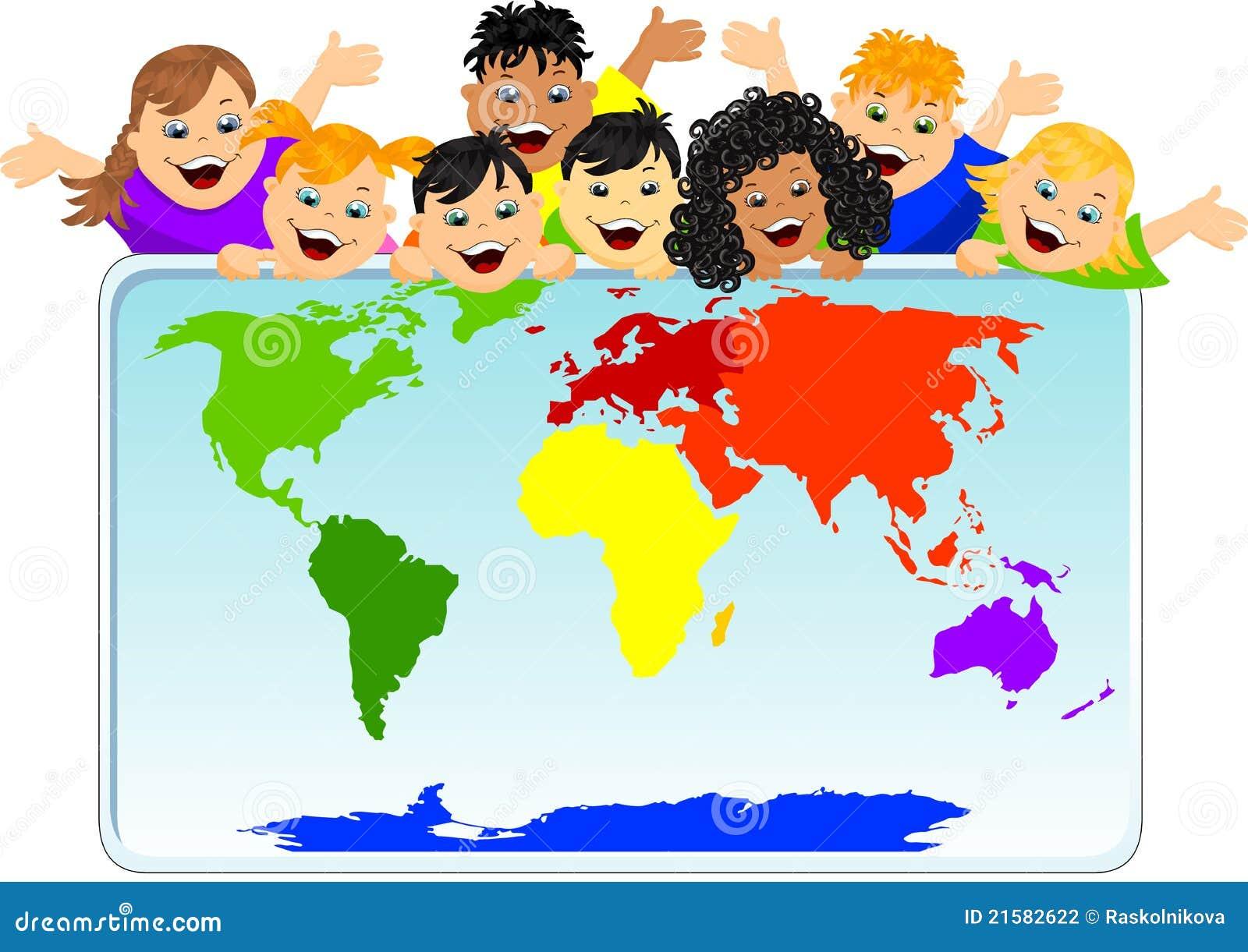 enfants avec une carte du monde illustration stock. Black Bedroom Furniture Sets. Home Design Ideas