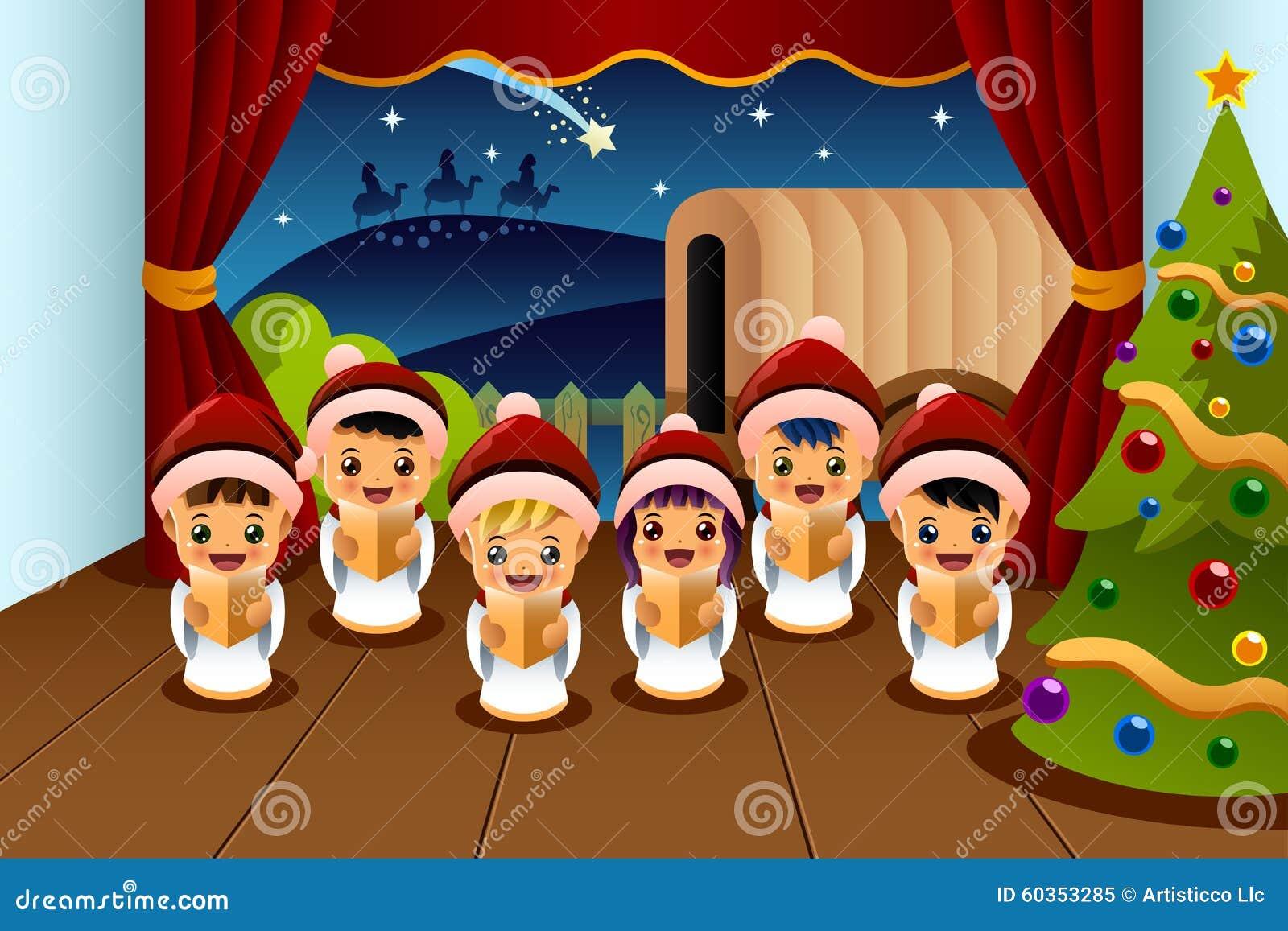 Enfants Chantant Des Chants De Noël Illustration de Vecteur - Illustration  du chantant, noël: 60353285