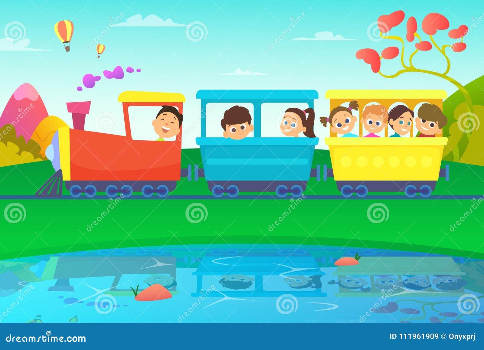 Enfants conduisant un train en monde de conte de fées