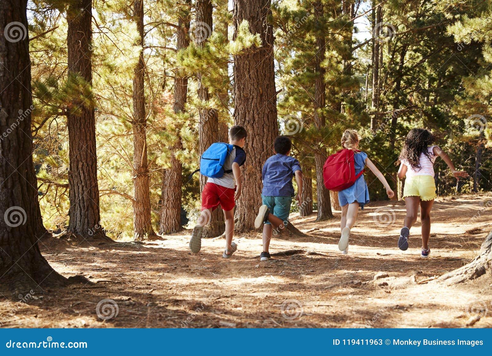 Enfants courant le long de Forest Trail On Hiking Adventure