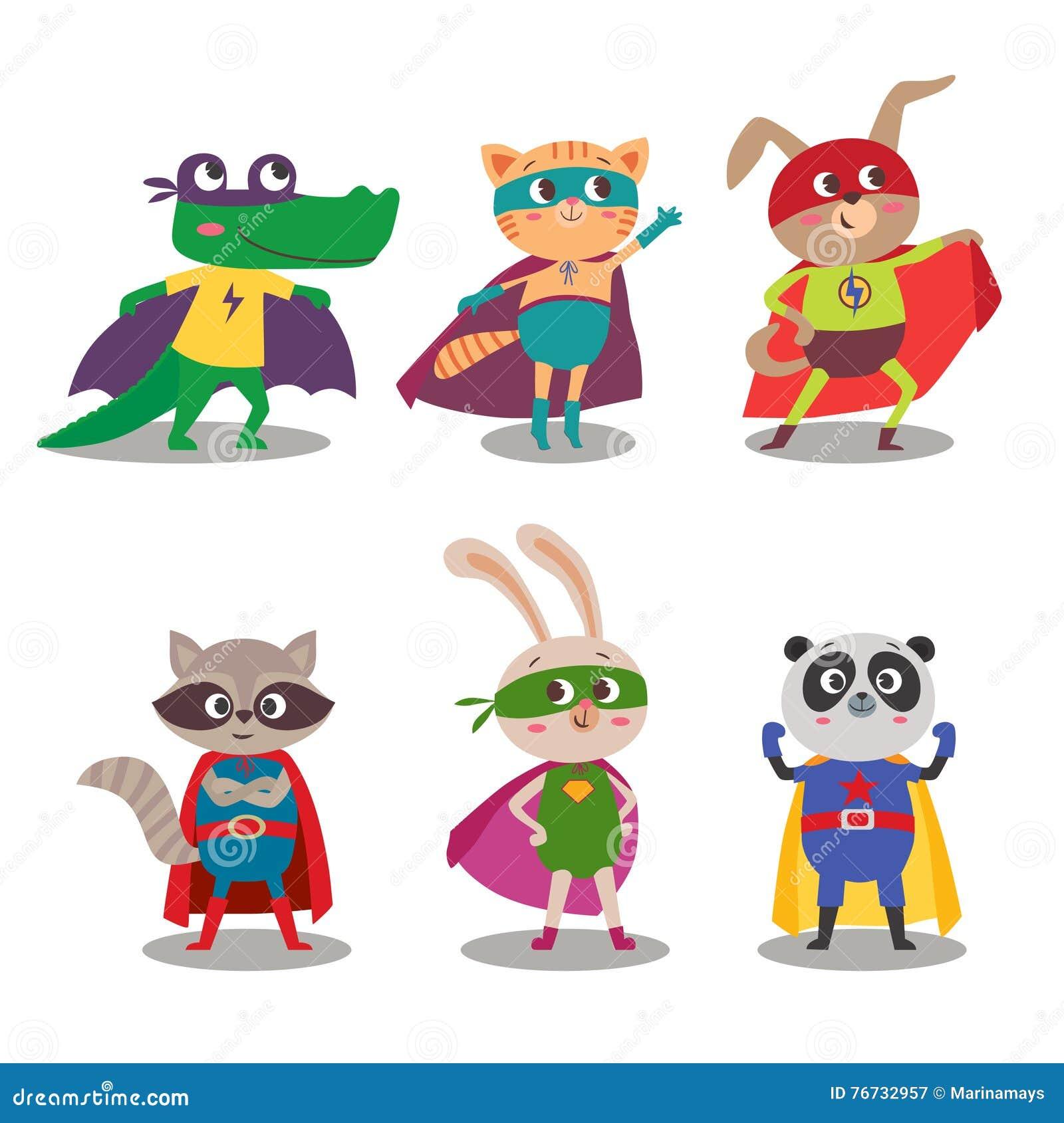 Dessin Anim 9 Ans: Enfants D'animal De Super Héros Illustration De Vecteur De