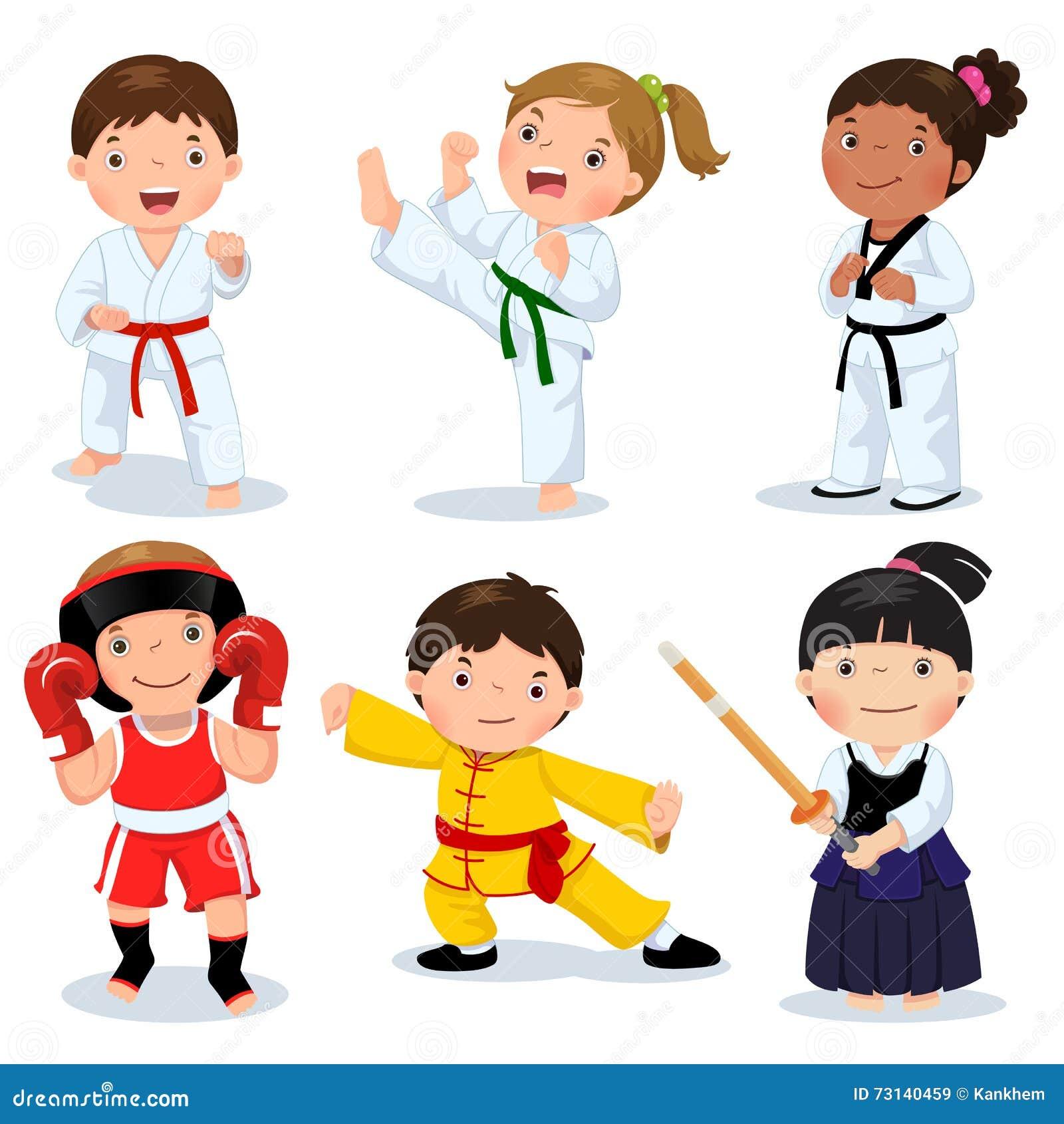 Enfants d arts martiaux Enfants combattant, judo, le Taekwondo, karaté, k