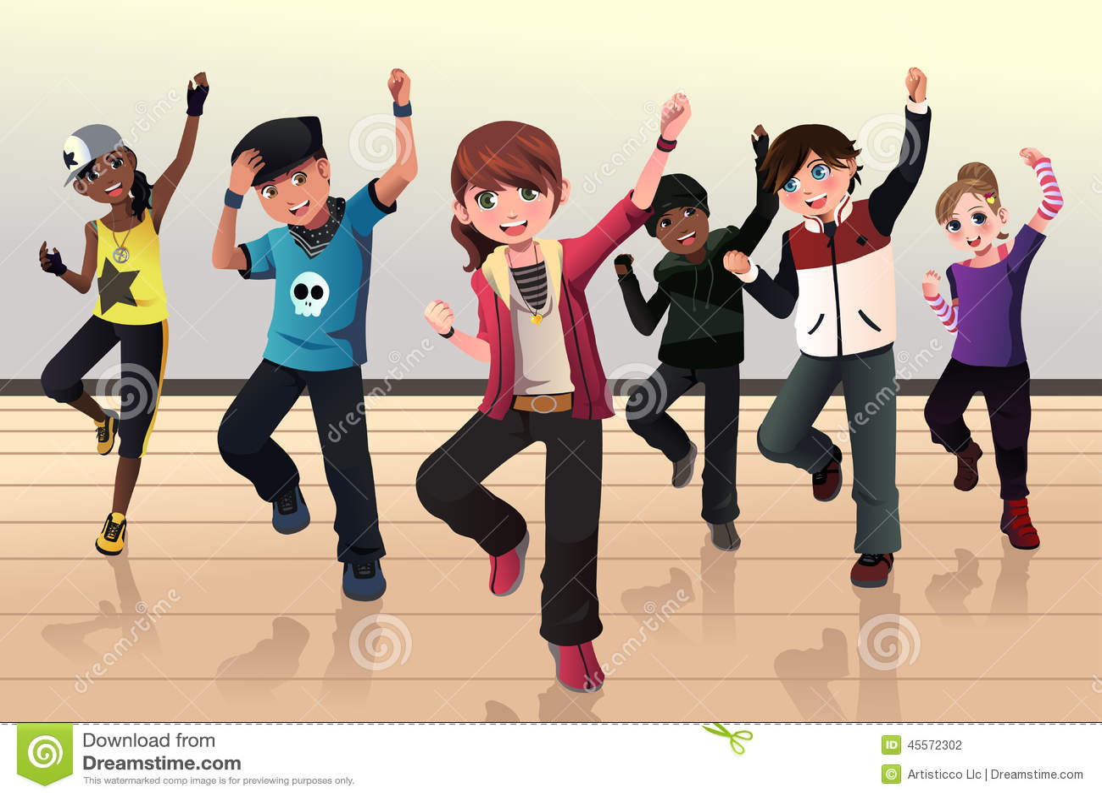 Enfants dans la classe de danse d houblon de hanche