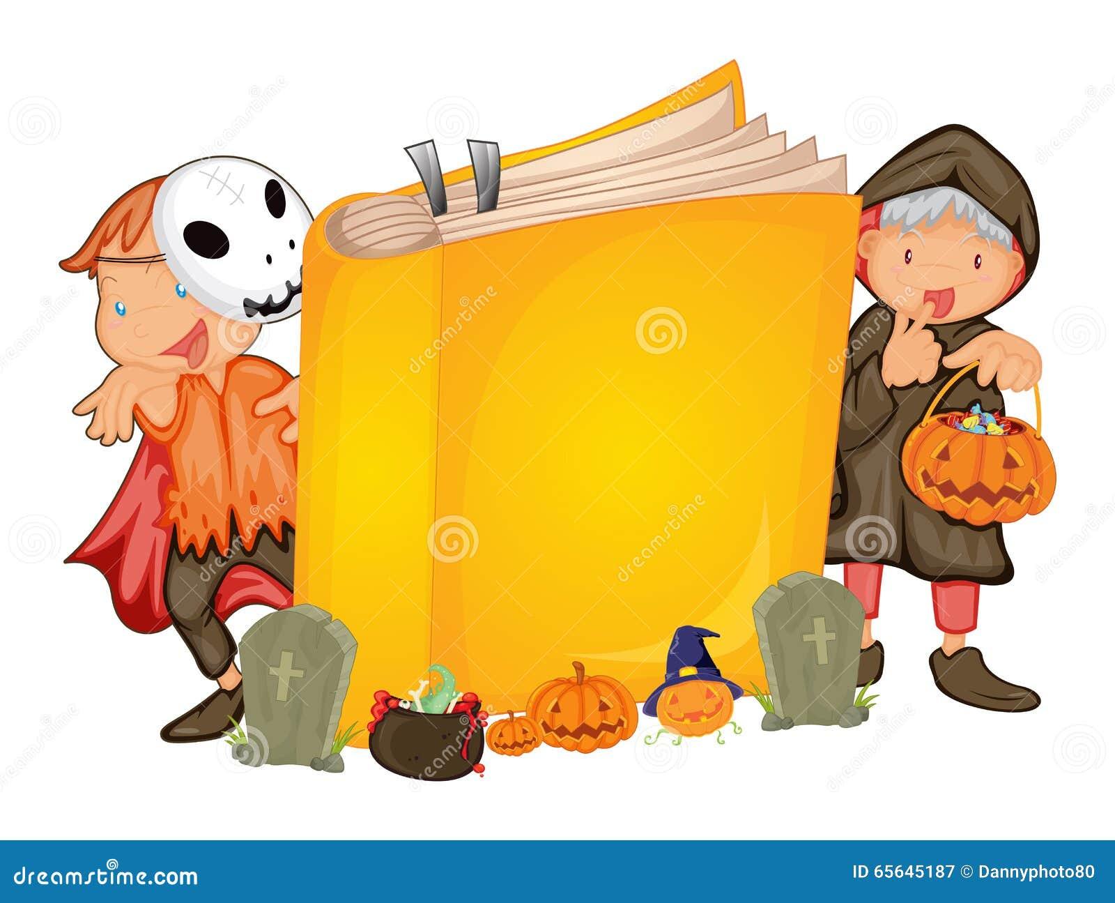 Enfants dans le costume de Halloween et un livre