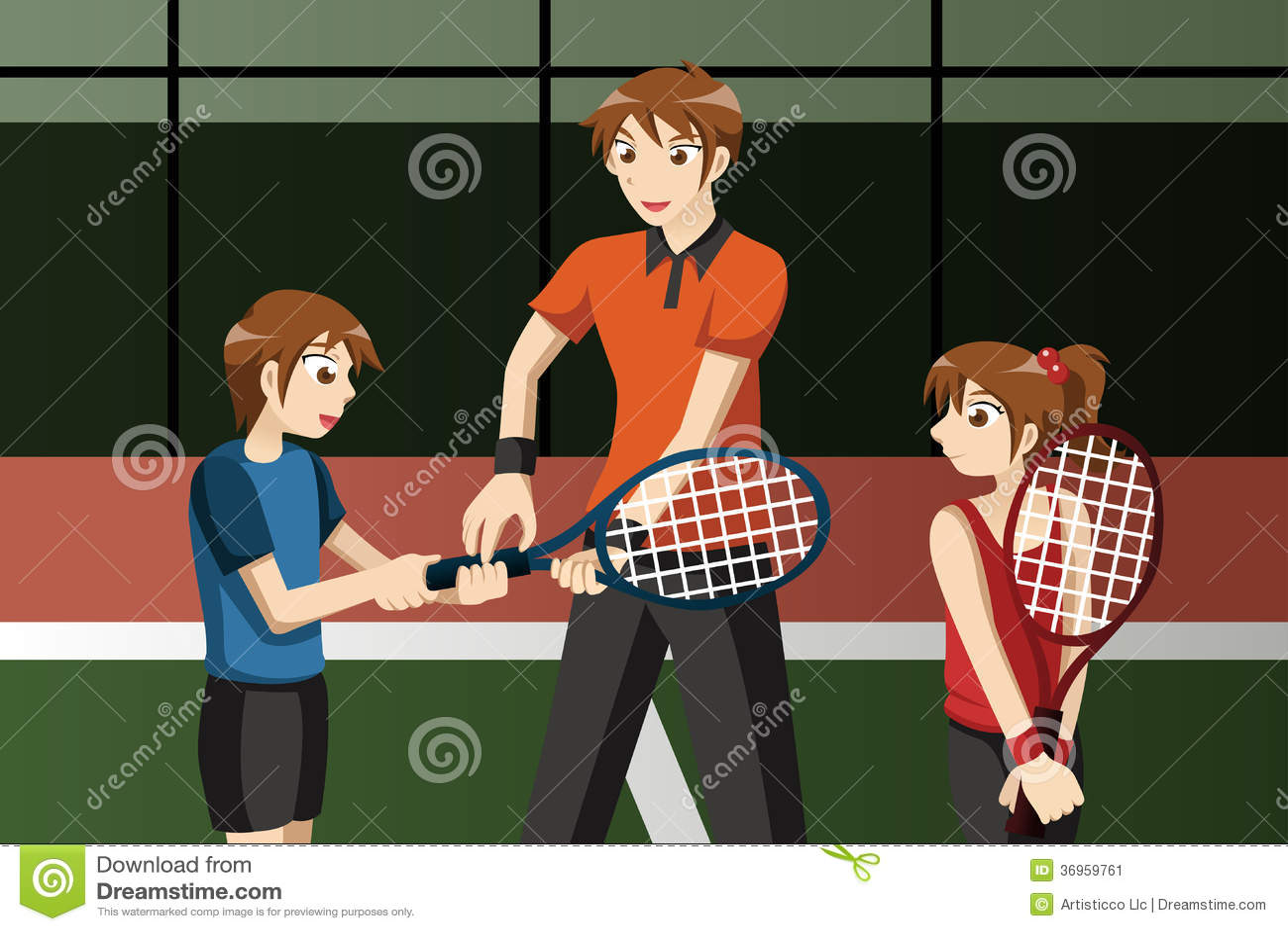Enfants dans un club de tennis avec l instructeur