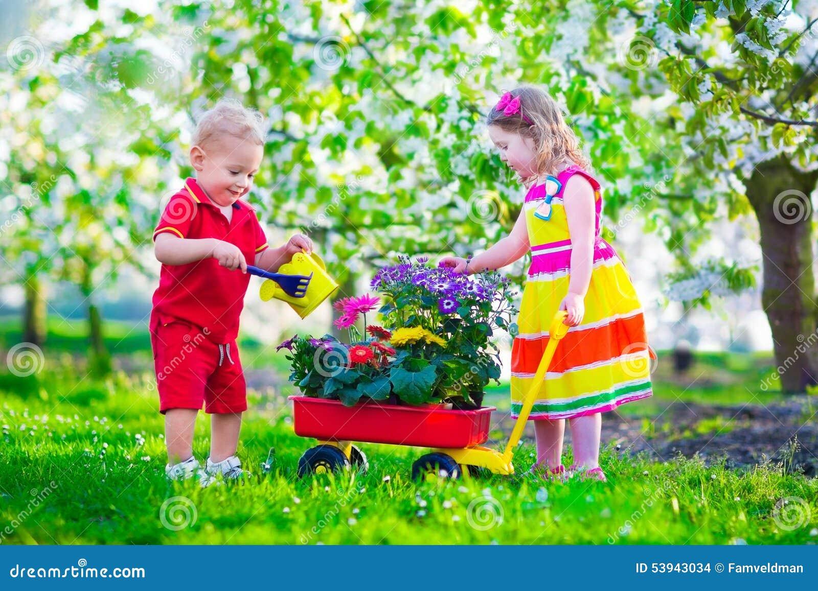 Enfants dans un jardin avec les cerisiers de floraison for Cendre dans le jardin