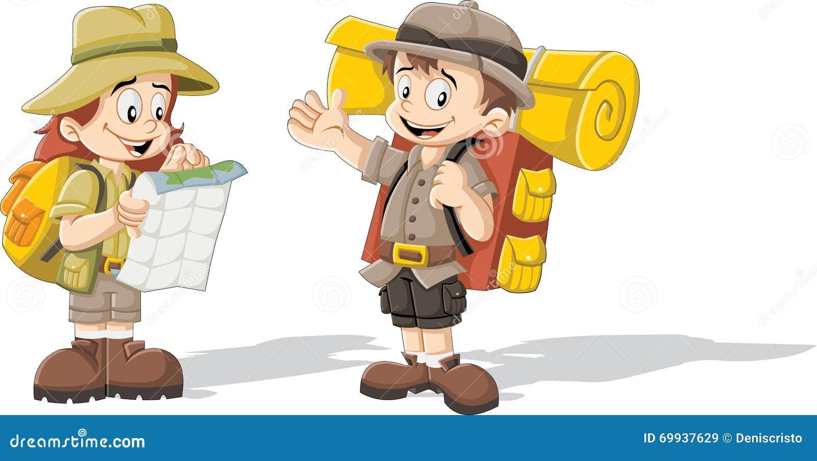 Enfants de bande dessinée dans l équipement d explorateur