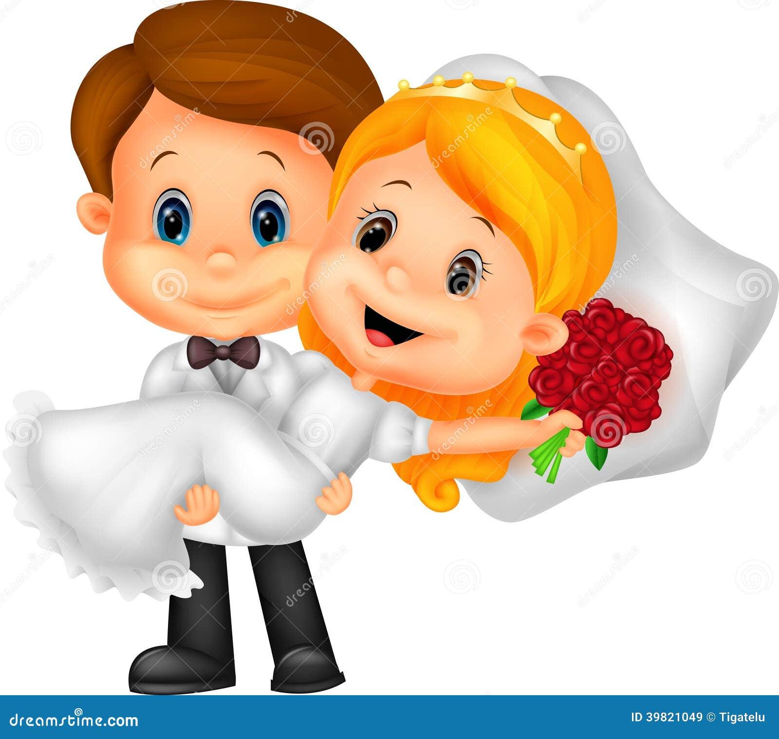 Enfants de bande dessinée jouant des jeunes mariés