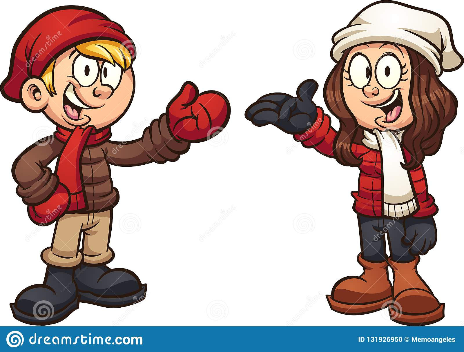 Enfants de bande dessinée portant des vêtements d hiver