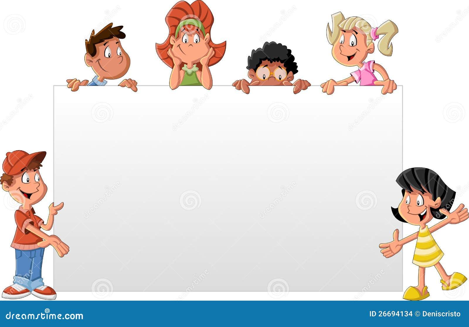 Enfants de dessin anim devant le panneau blanc images - Image dessin enfant ...