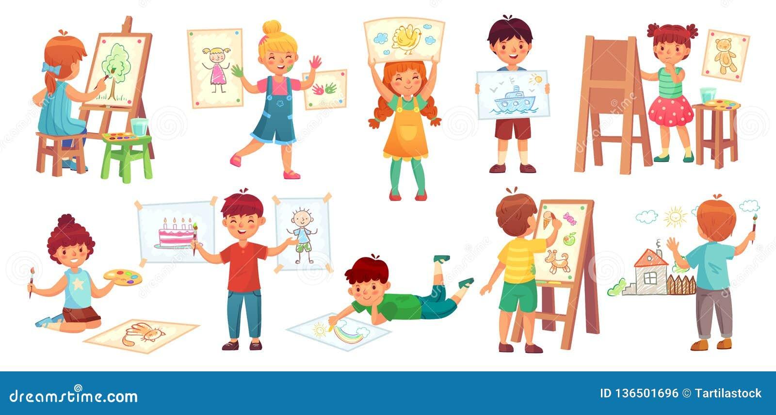 Enfants de dessin Illustrateur d enfant, jeu de dessin de bébé et illustration de vecteur de bande dessinée de groupe d enfants d