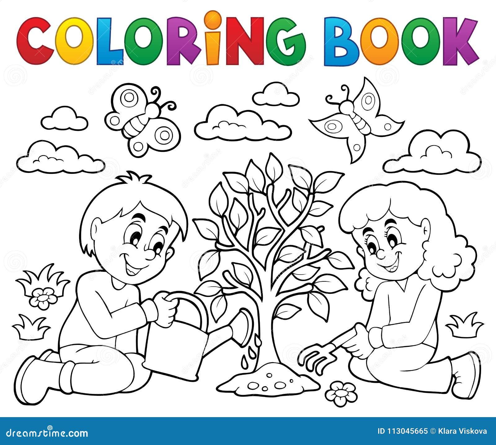 Enfants De Livre De Coloriage Plantant L Arbre Illustration De
