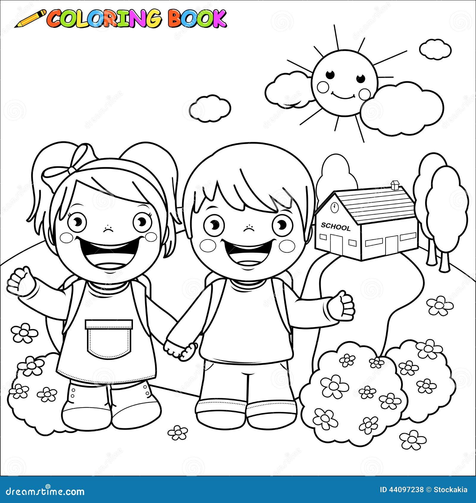Enfants De Livre De Coloriage à L école Illustration De