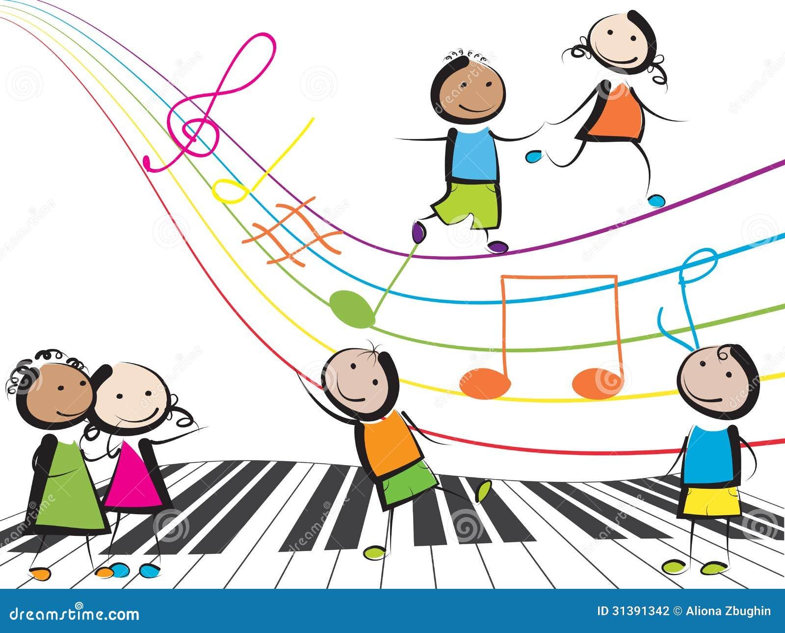 enfants de musique illustration de vecteur illustration Running Clip Art Black and White kids running clip art black white