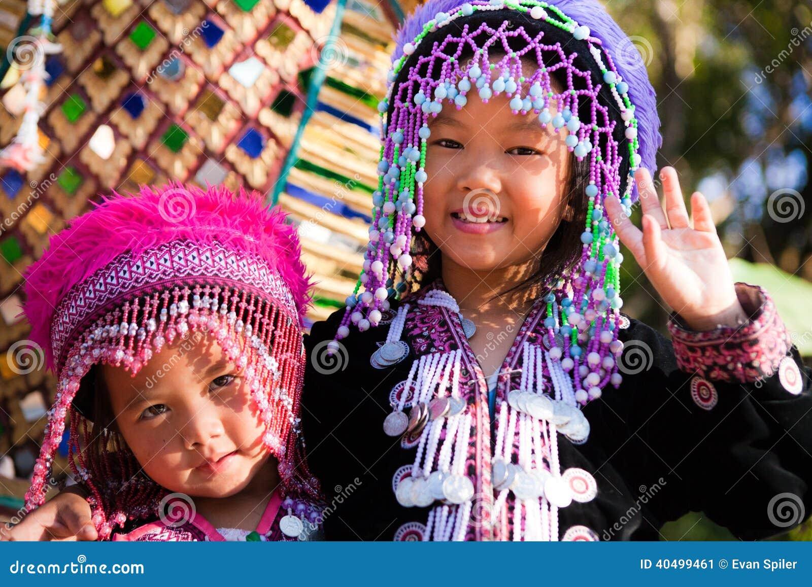 Enfants de tribu d Akha