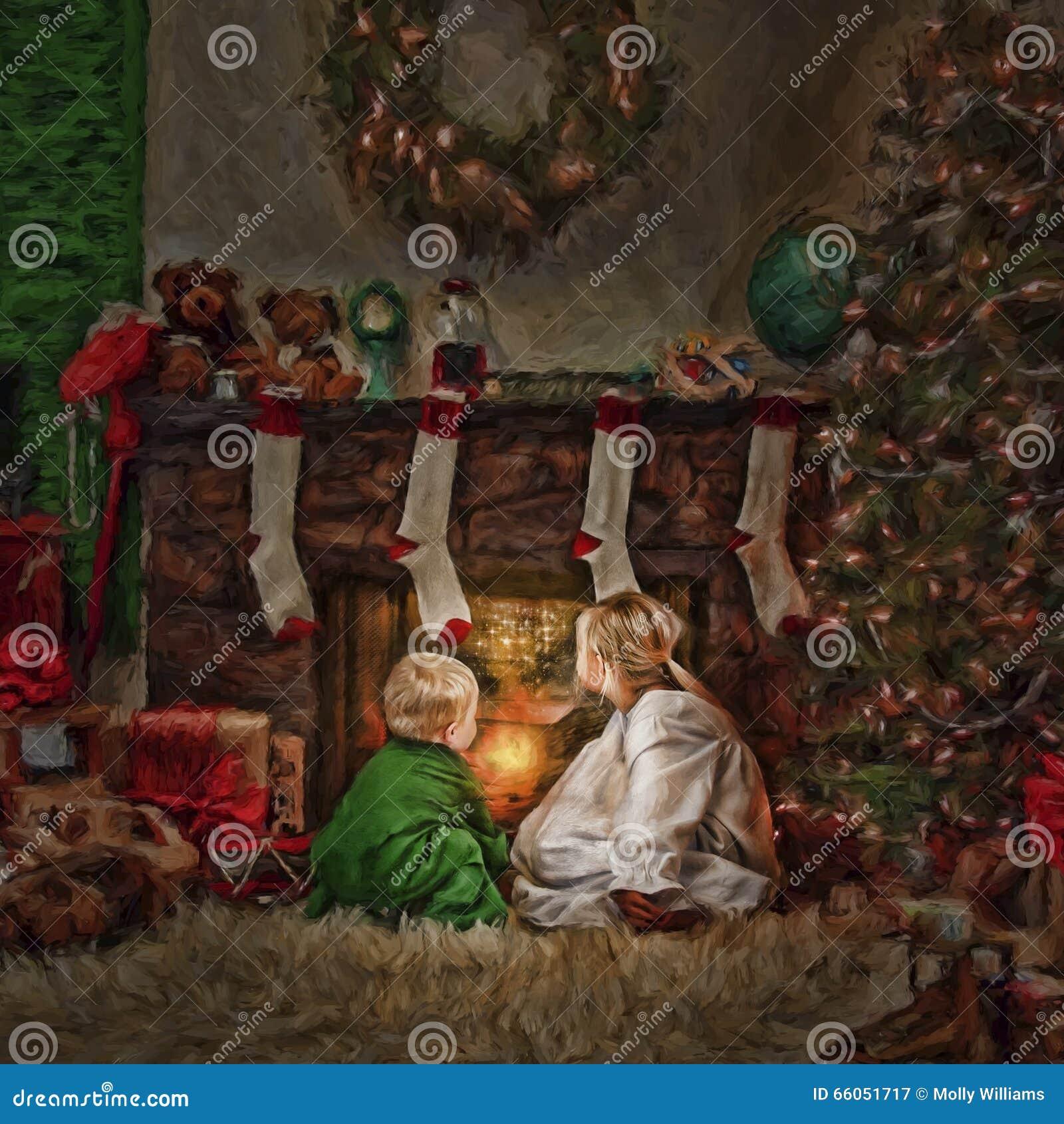 Enfants devant le feu à Noël