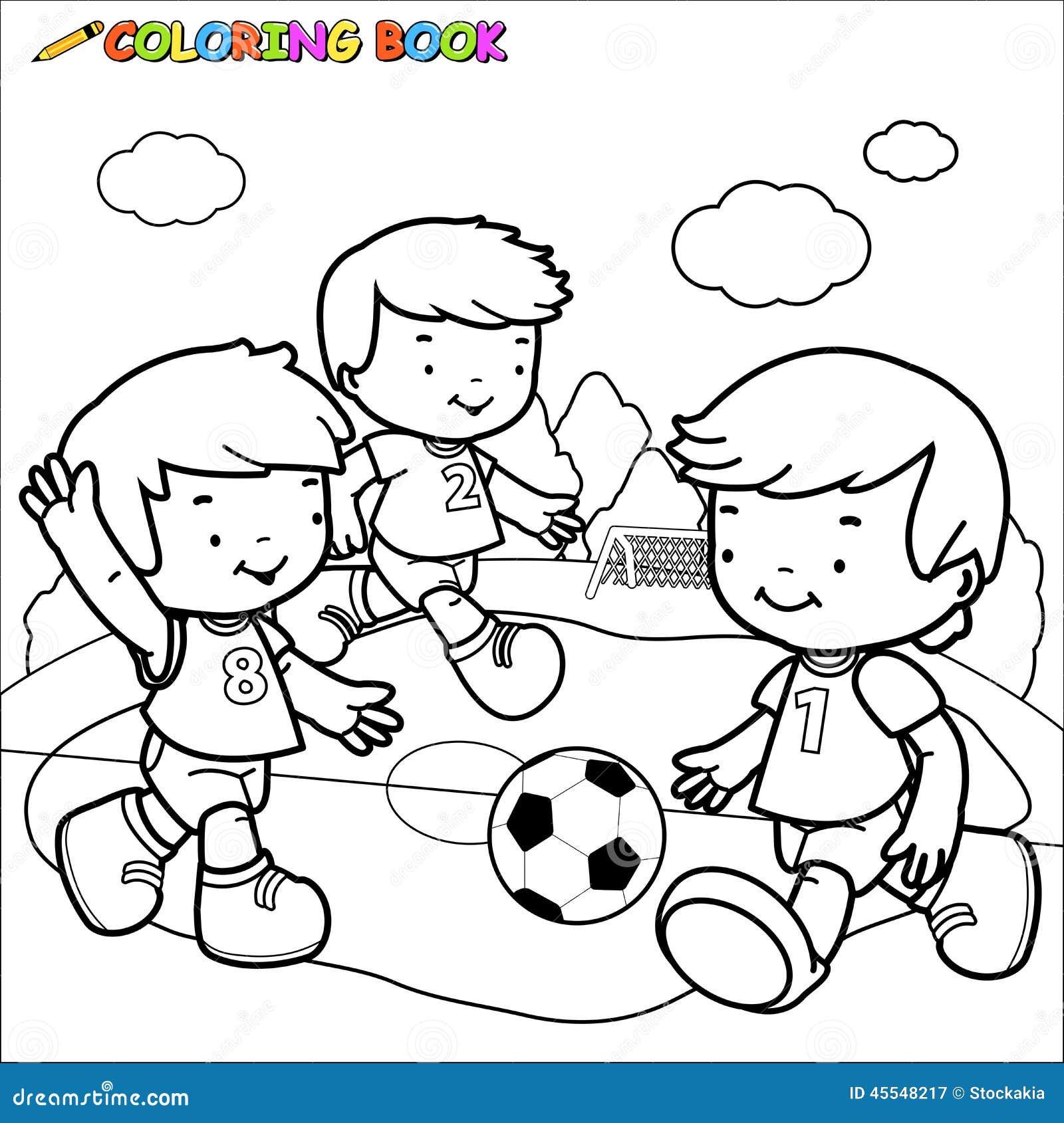 Enfants du football de livre de coloriage illustration de for Calciatori da colorare per bambini