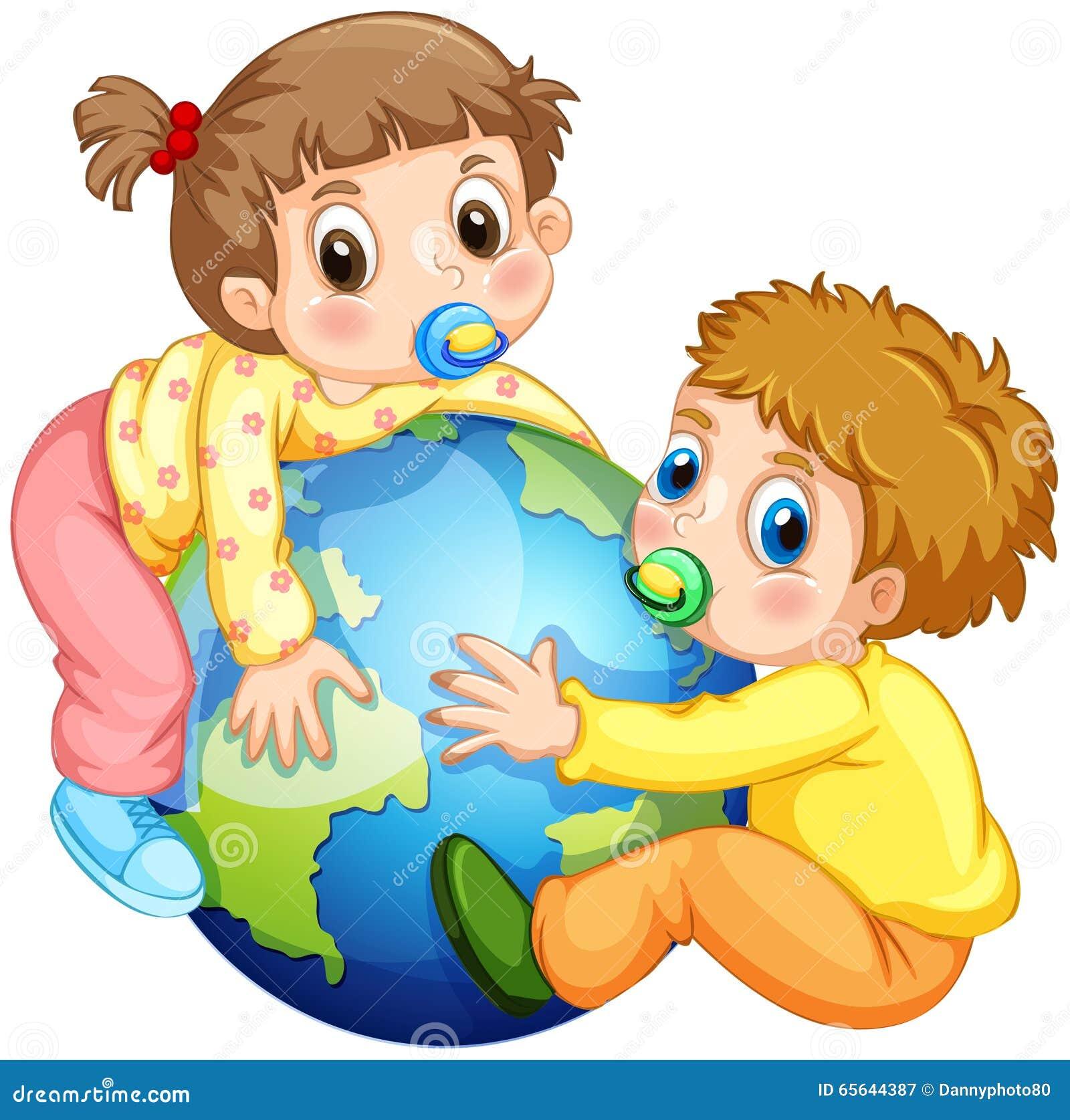Enfants en bas âge garçon et fille étreignant la terre