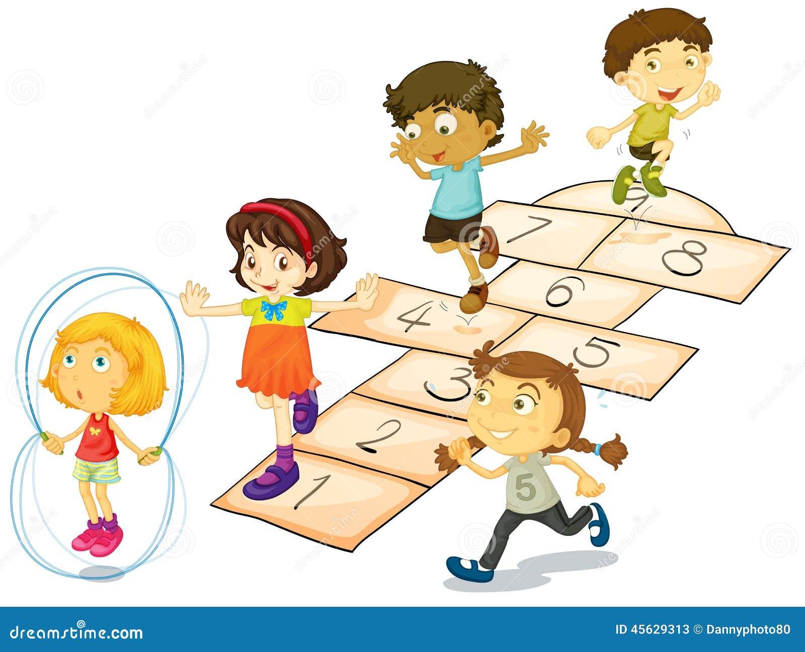 Le célèbre Enfants et jeu de marelle illustration de vecteur. Illustration du #WD_07