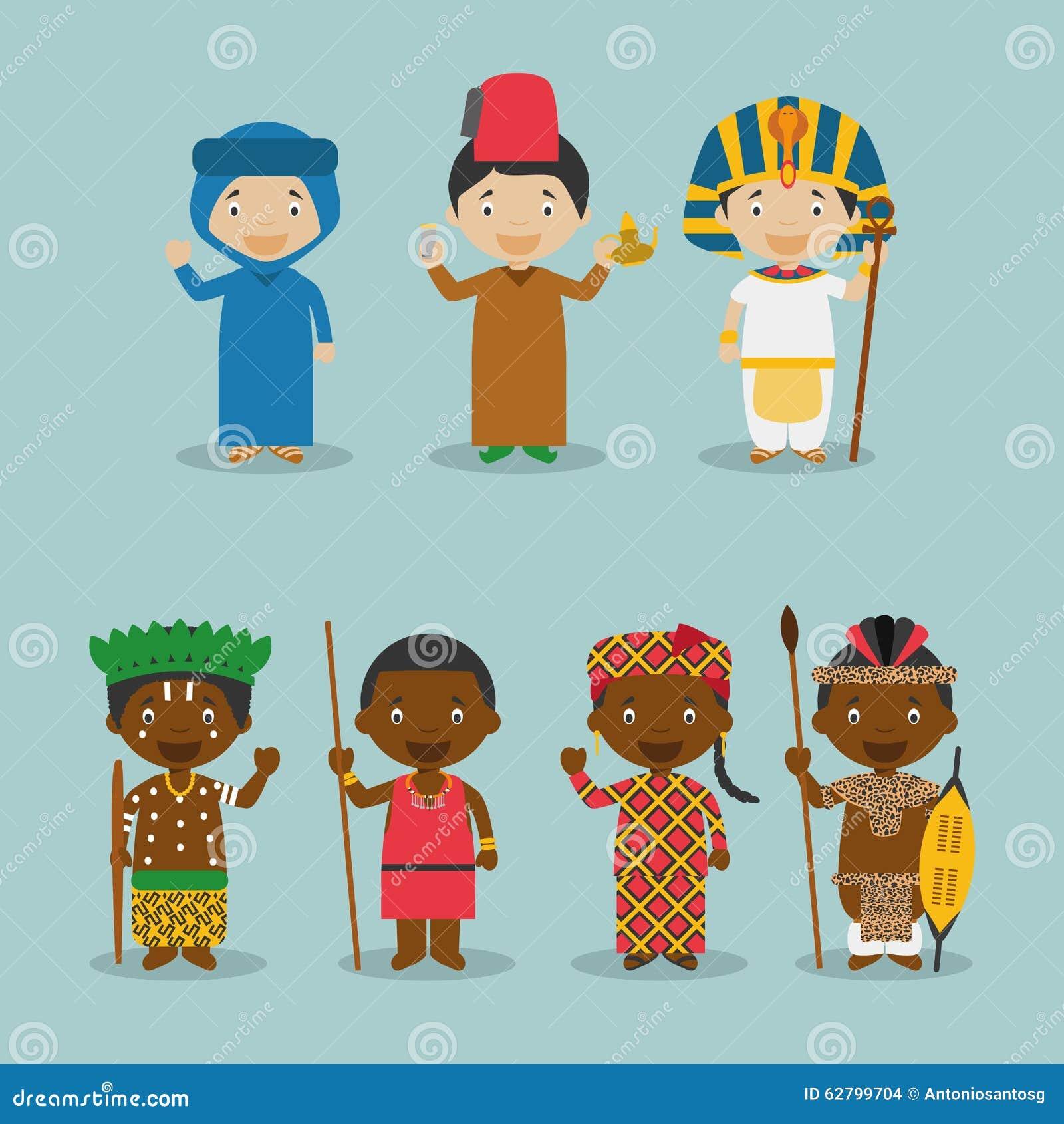 Enfants et nationalités du vecteur du monde : L Afrique a placé 2