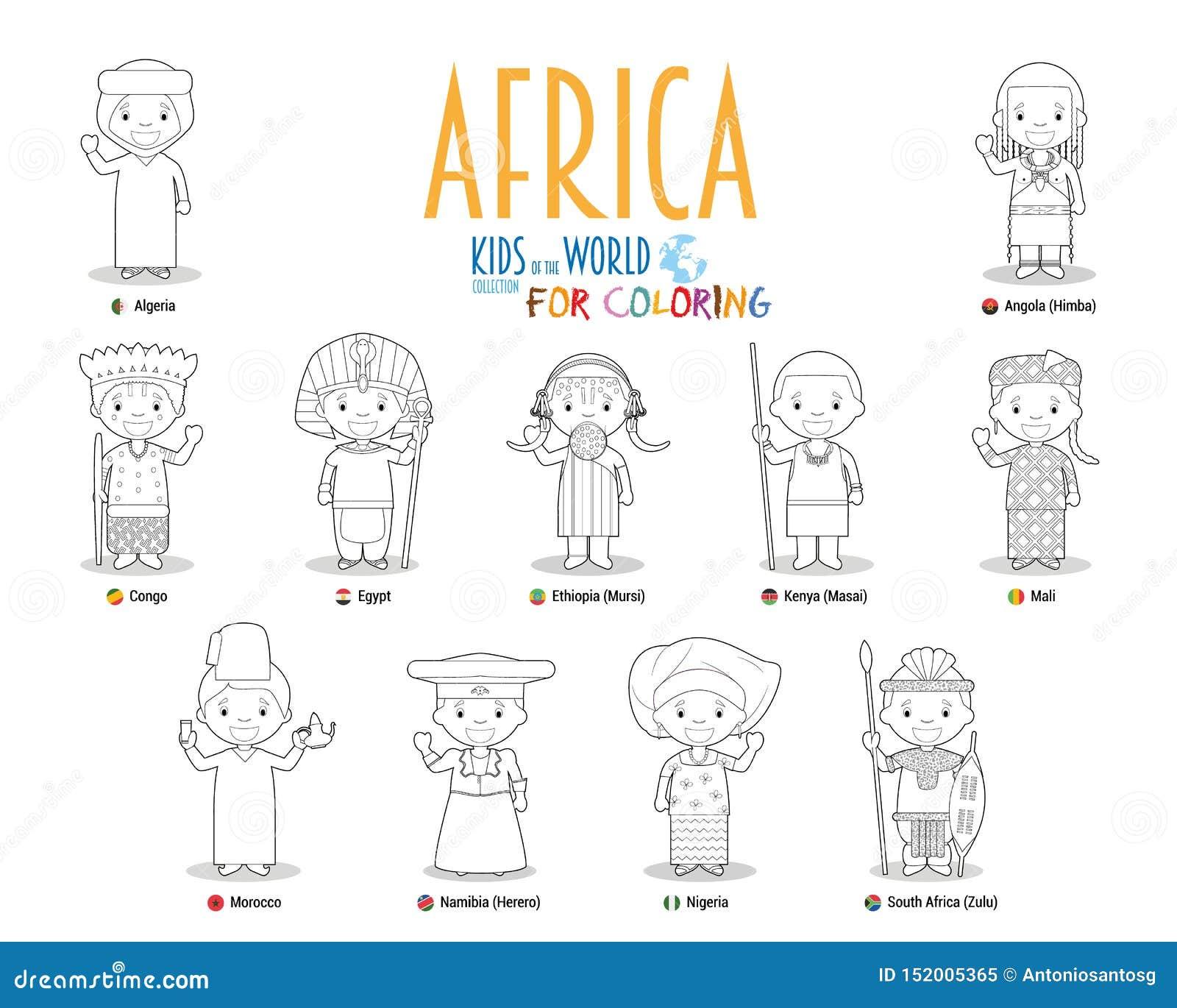 Enfants et nationalit?s du vecteur du monde : Afrique Placez de 11 caractères pour colorer habillé dans différents costumes natio