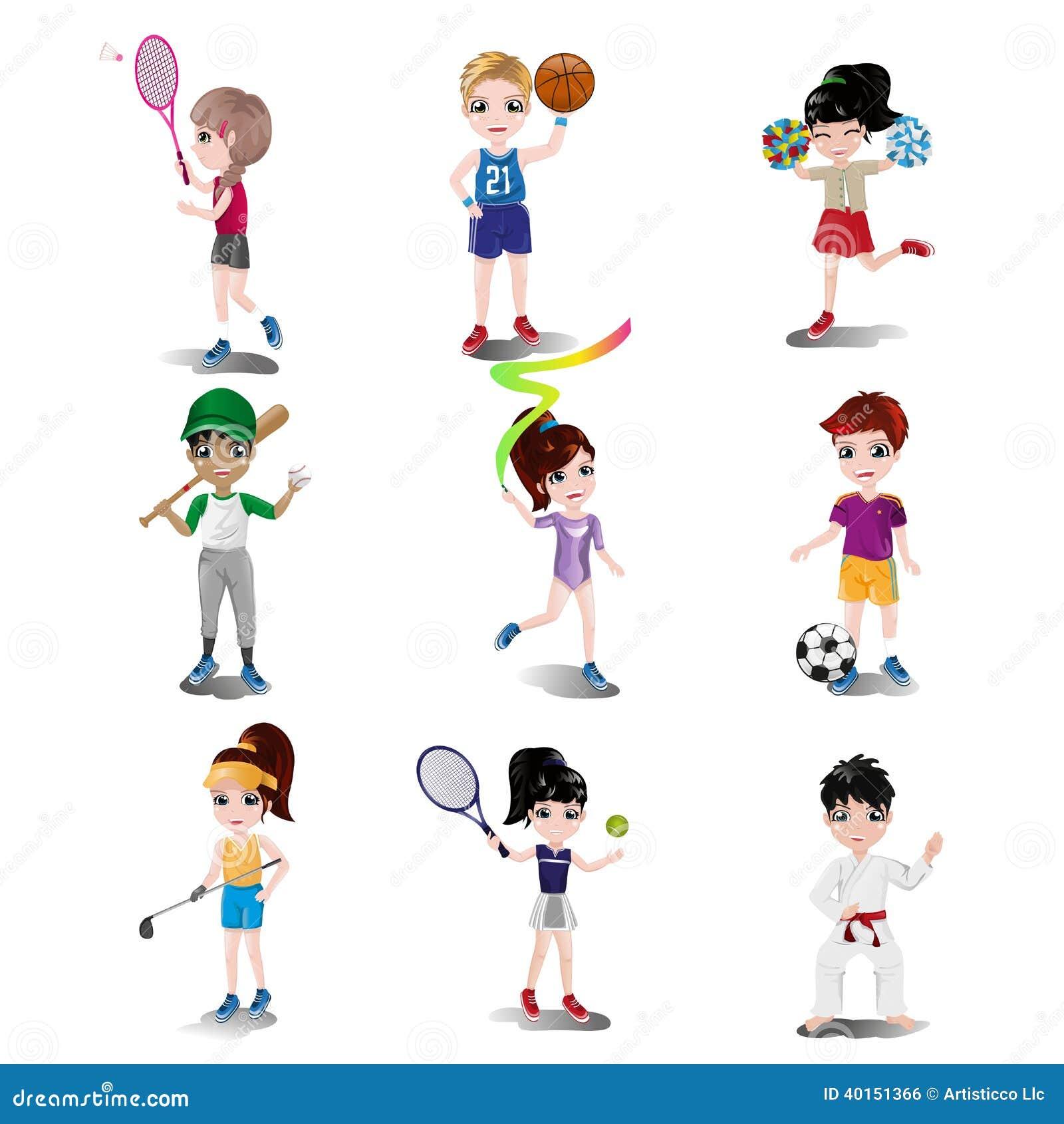 Enfants exerçant et jouant différents sports