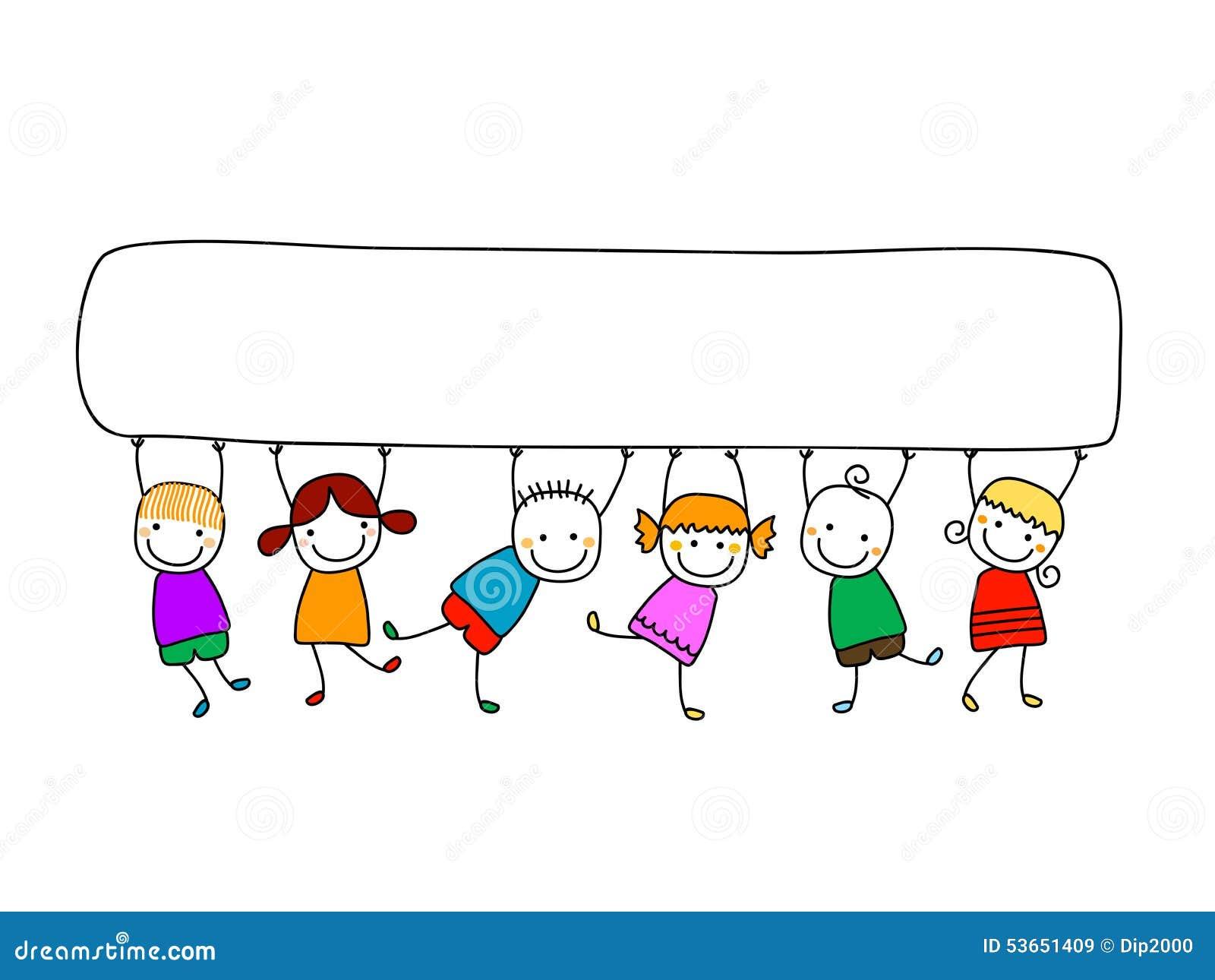 Préféré Enfants Heureux Avec La Bannière Illustration de Vecteur  HG03