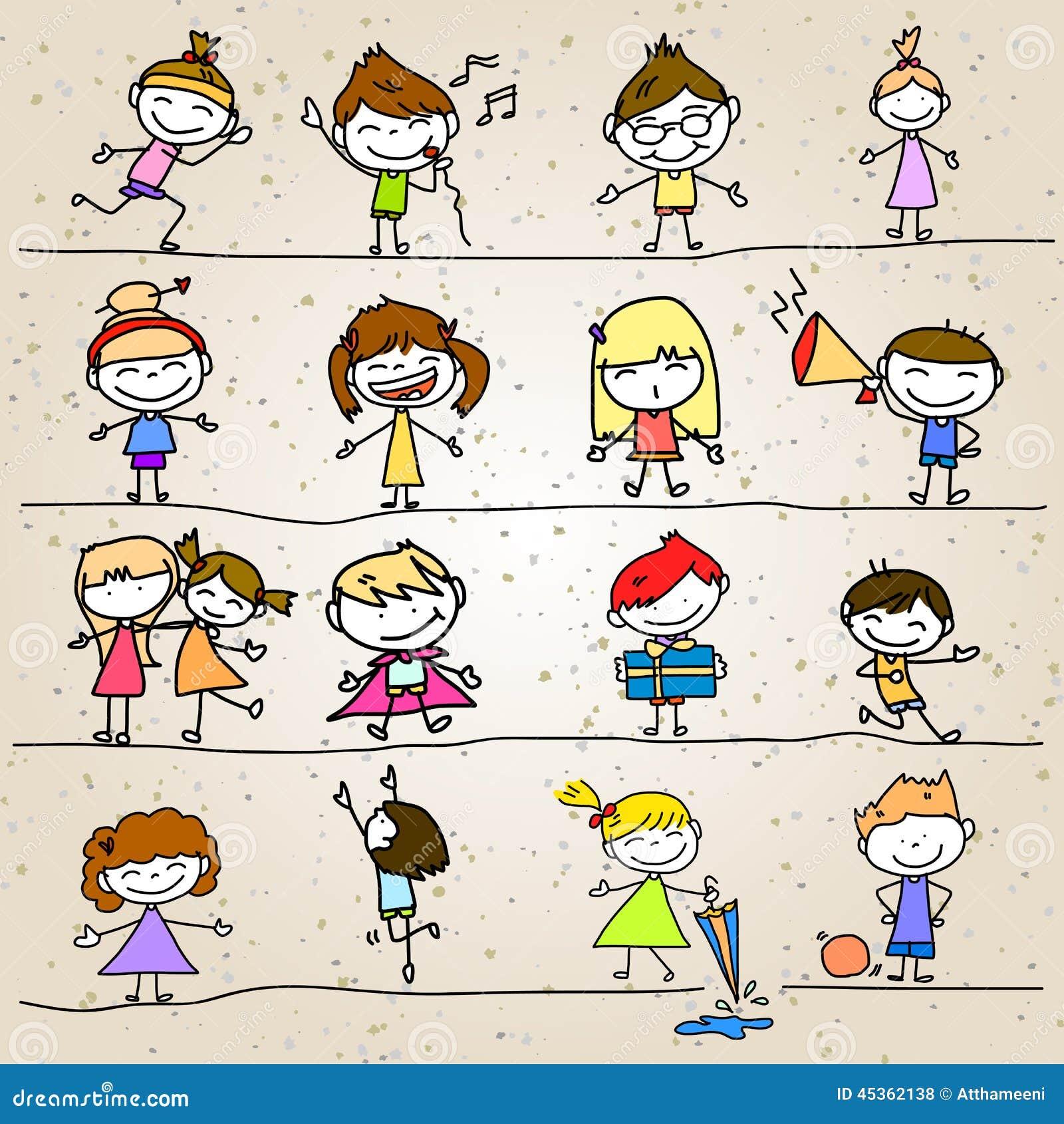Enfants heureux d abrégé sur bande dessinée de dessin de main