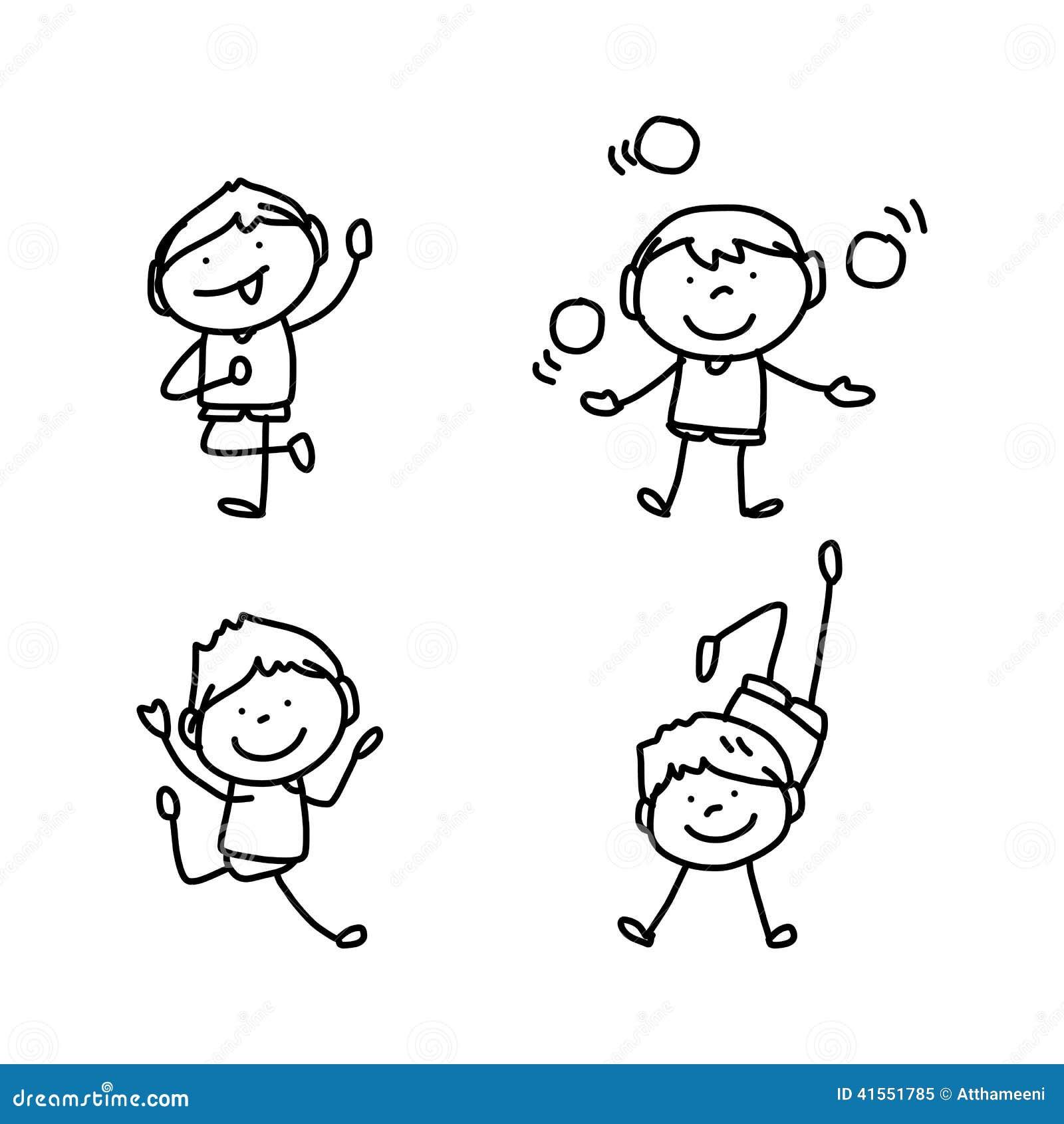 Enfants heureux de personnage de dessin anim de dessin de - Dessin main enfant ...