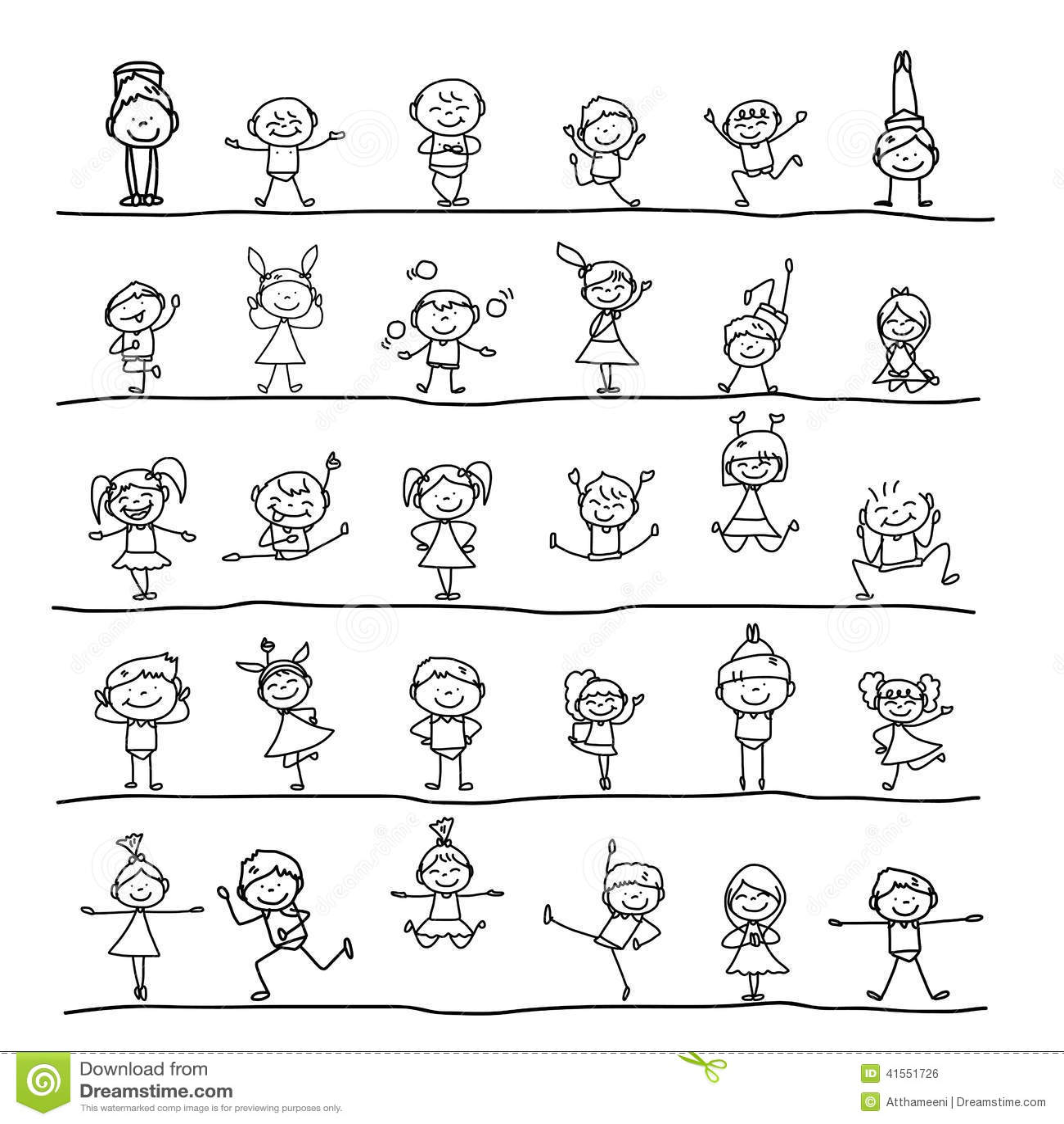 enfants heureux de personnage de dessin anim de dessin de main illustration de vecteur image. Black Bedroom Furniture Sets. Home Design Ideas
