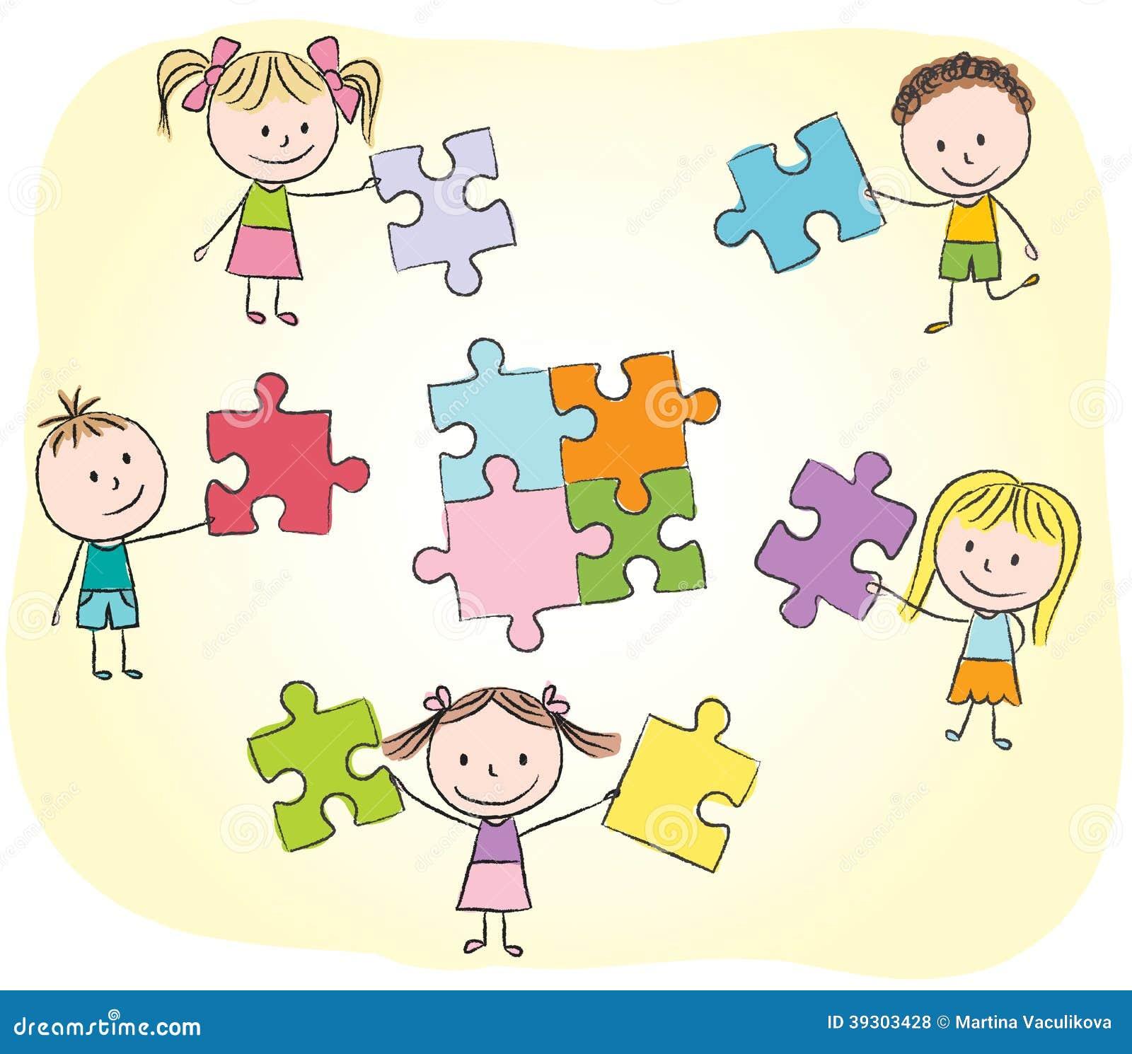 Enfants jouant avec le puzzle illustration de vecteur - Puzzle dessin ...